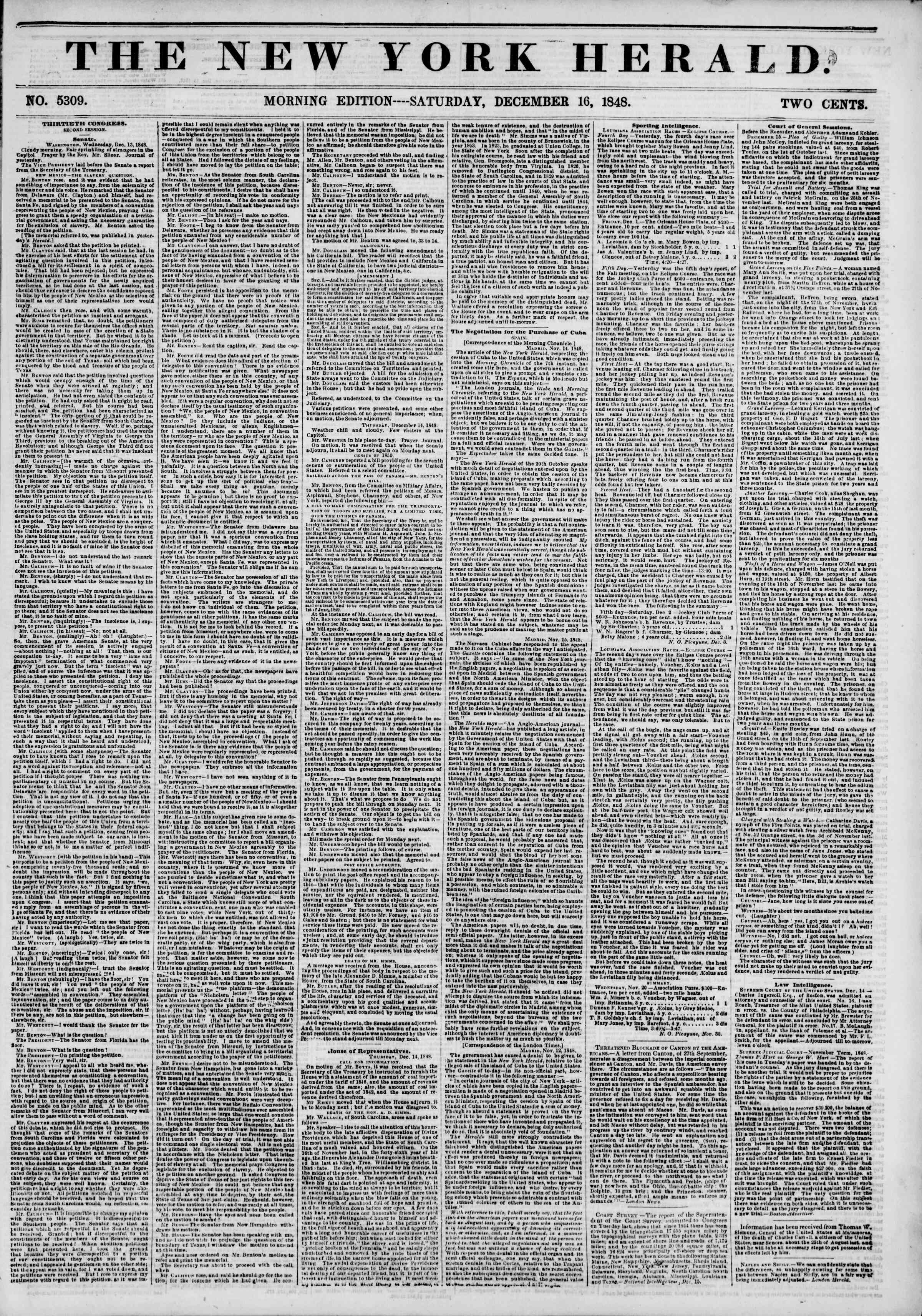 Newspaper of The New York Herald dated December 16, 1848 Page 1