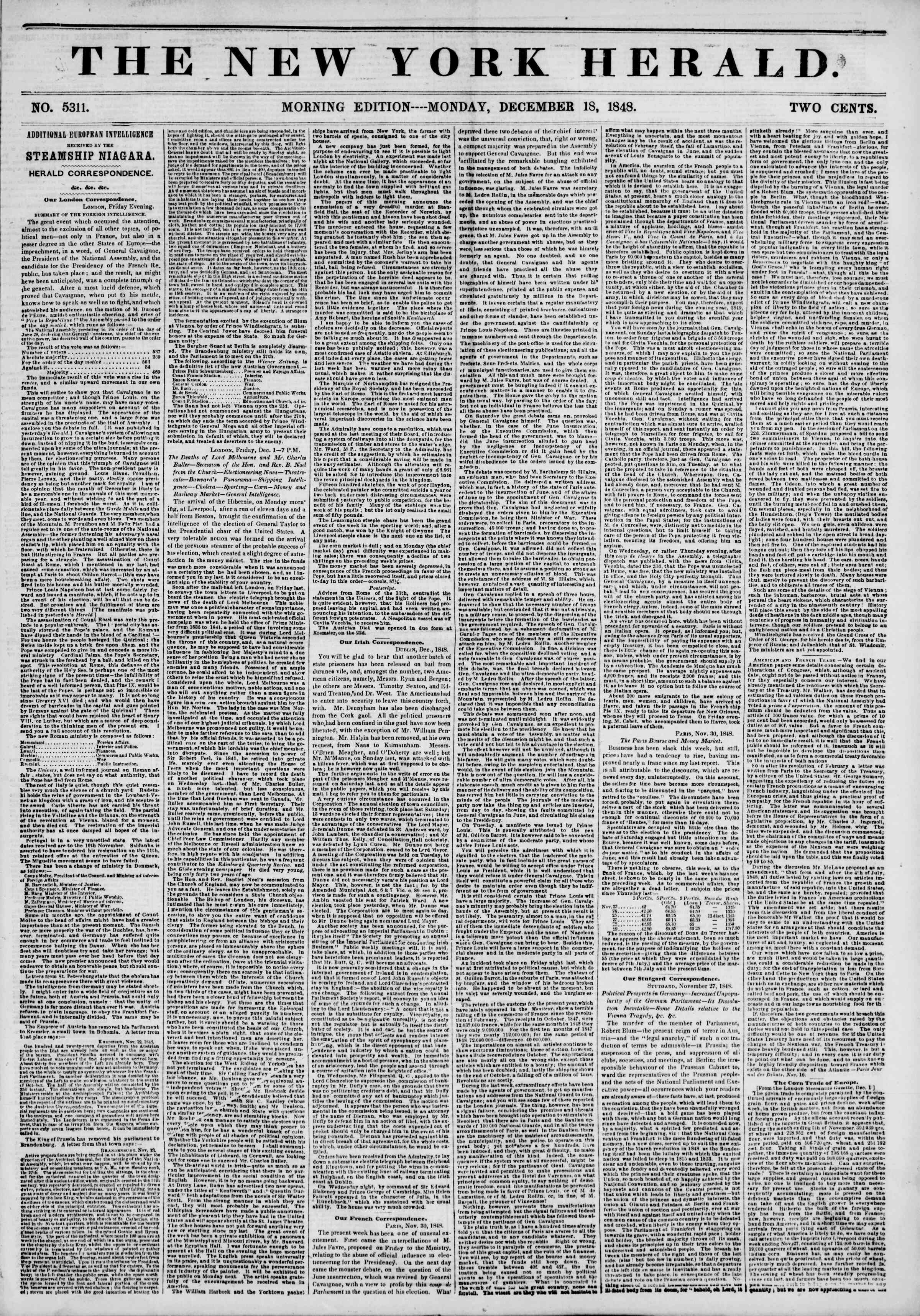 Newspaper of The New York Herald dated December 18, 1848 Page 1
