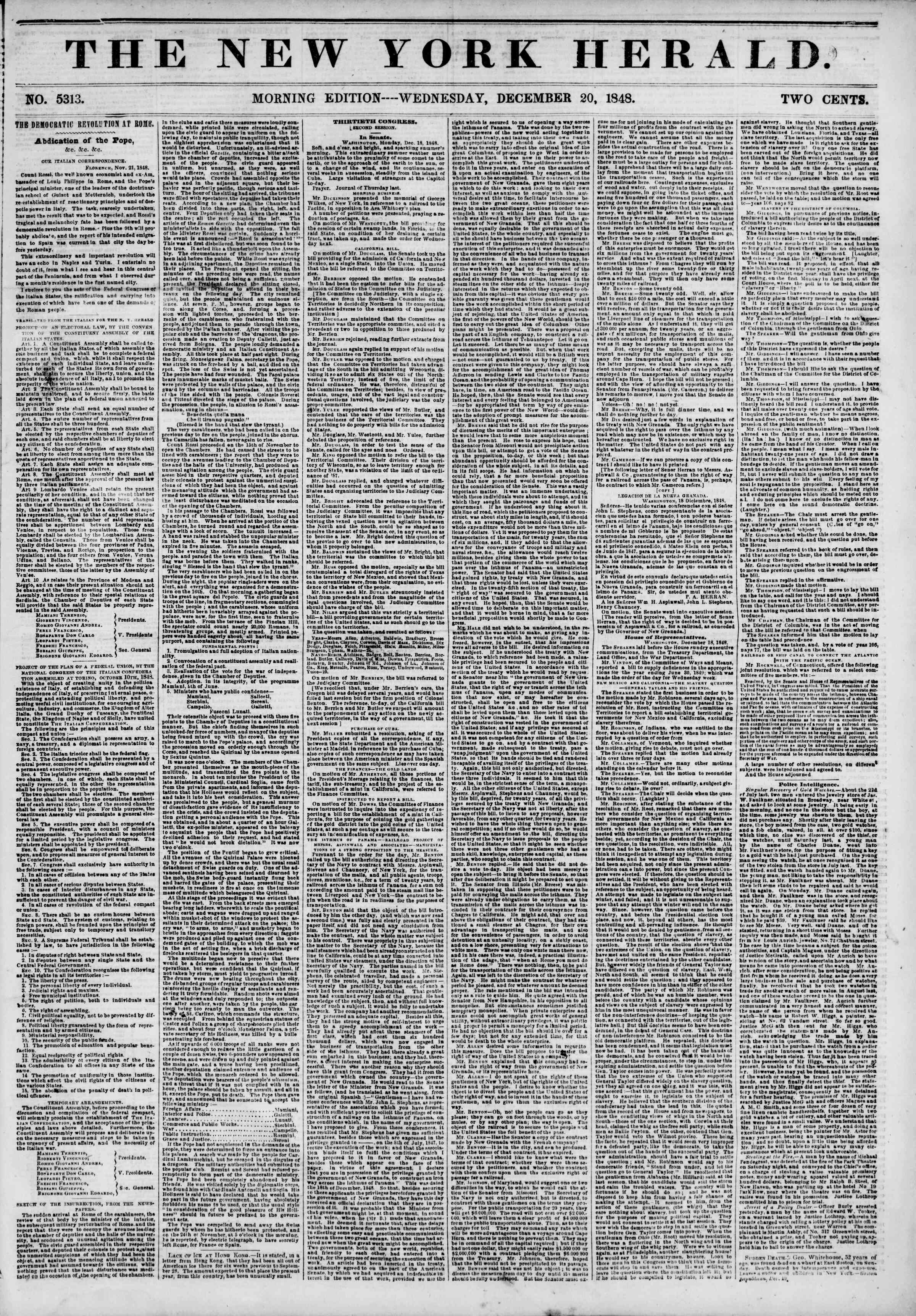 Newspaper of The New York Herald dated December 20, 1848 Page 1