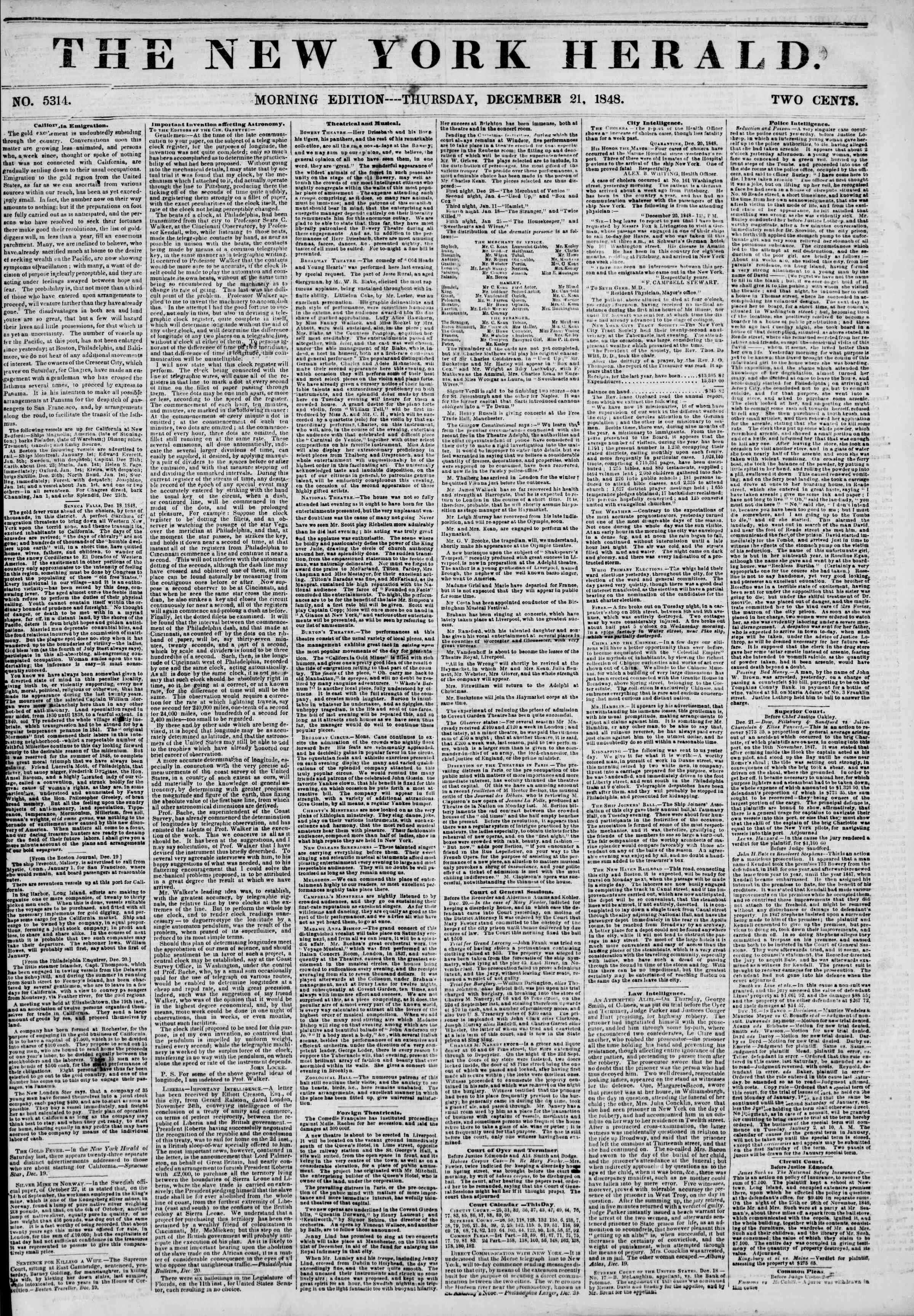 Newspaper of The New York Herald dated December 21, 1848 Page 1