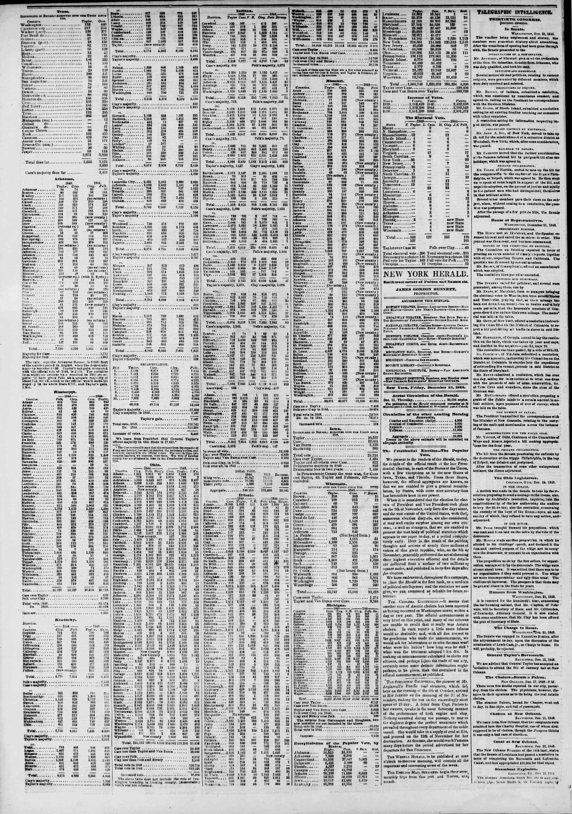Newspaper of The New York Herald dated December 22, 1848 Page 2