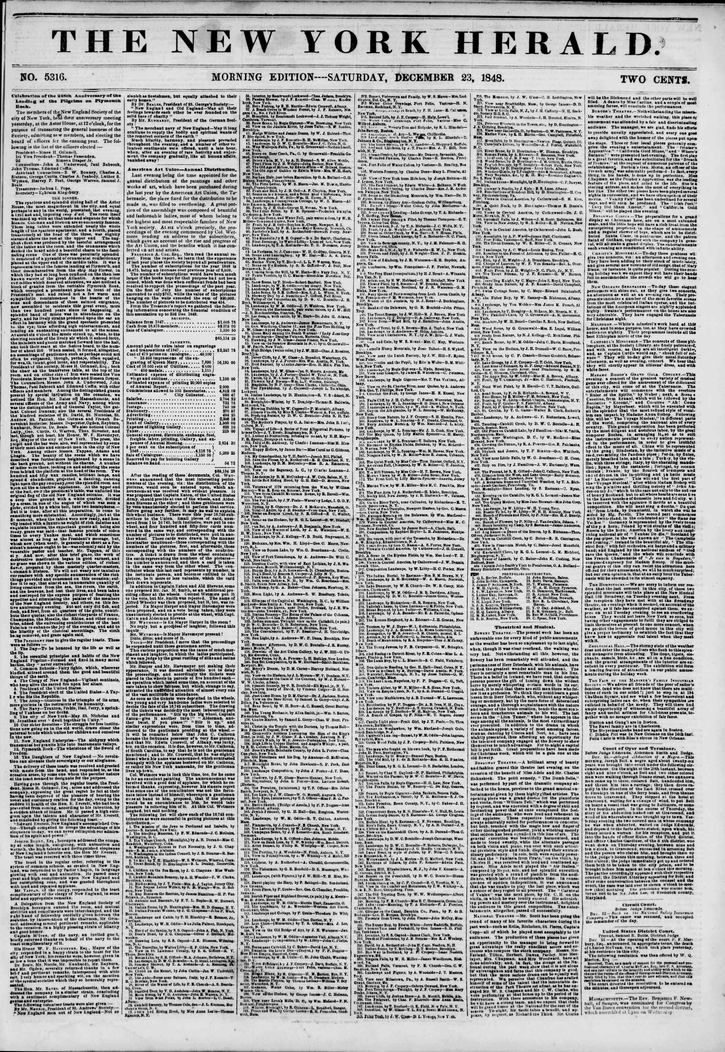 Newspaper of The New York Herald dated December 23, 1848 Page 1