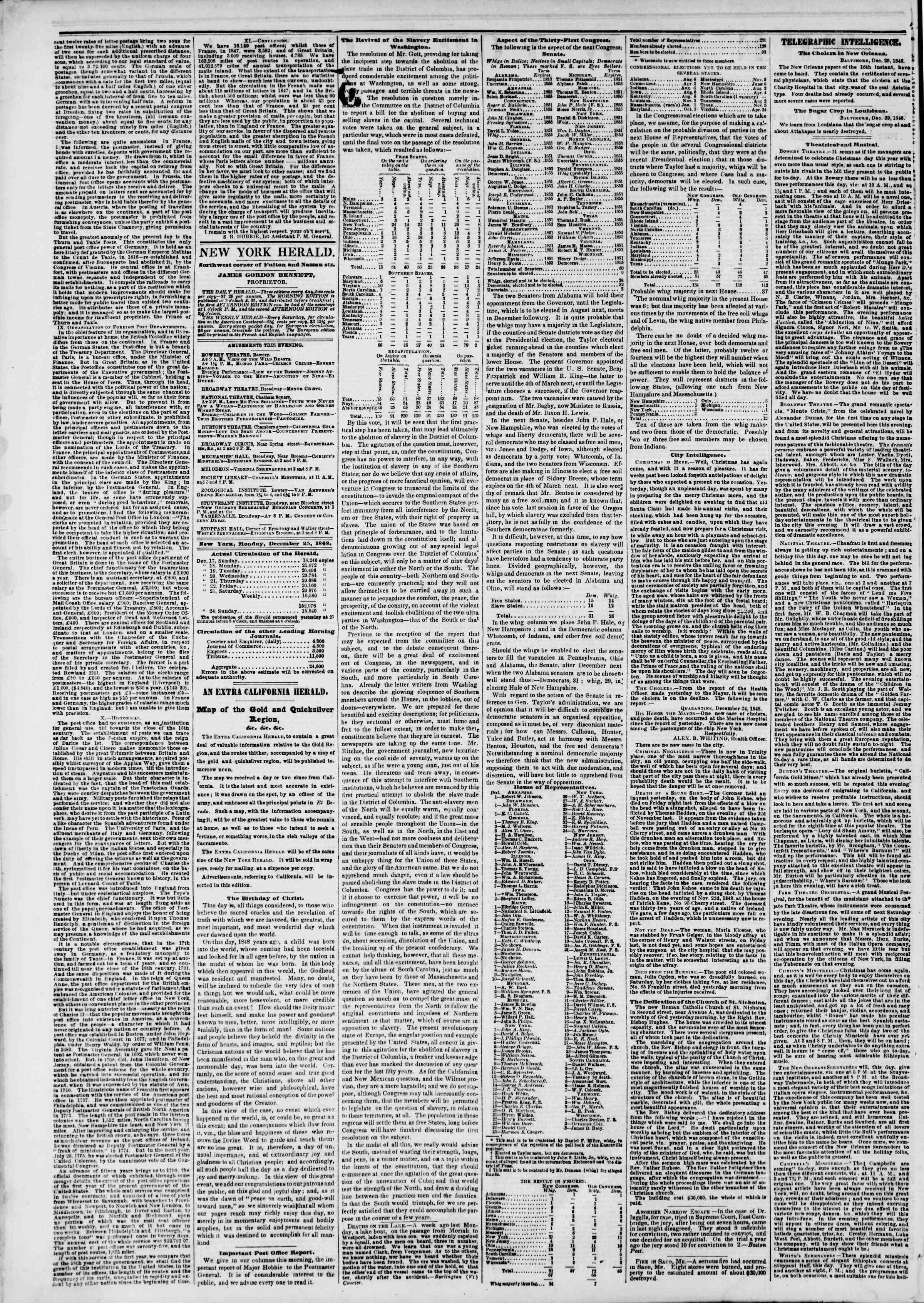 Newspaper of The New York Herald dated December 25, 1848 Page 2