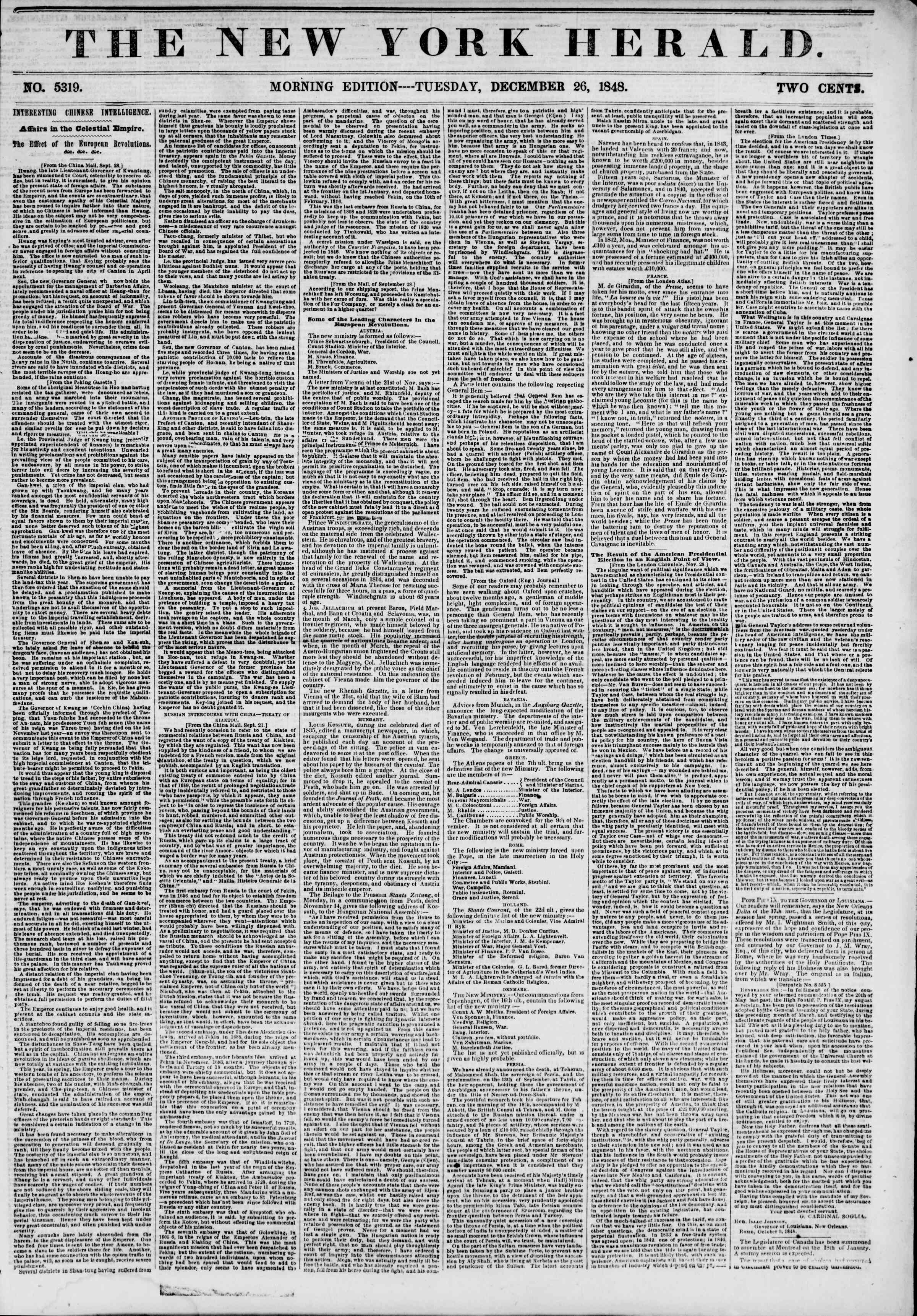 Newspaper of The New York Herald dated December 26, 1848 Page 1