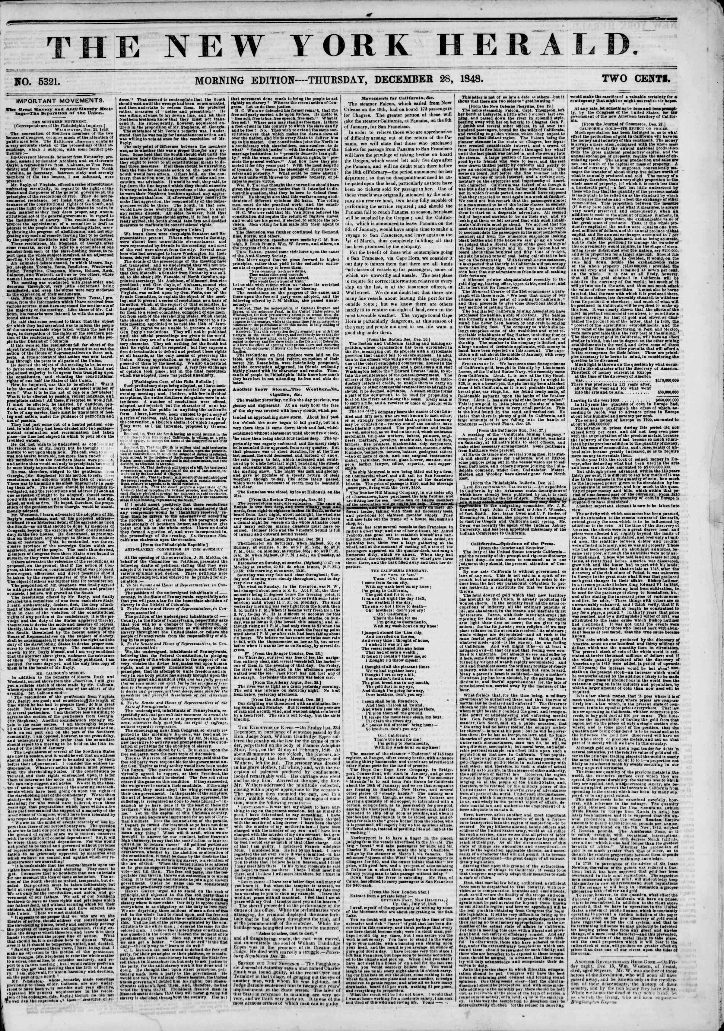 Newspaper of The New York Herald dated December 28, 1848 Page 1