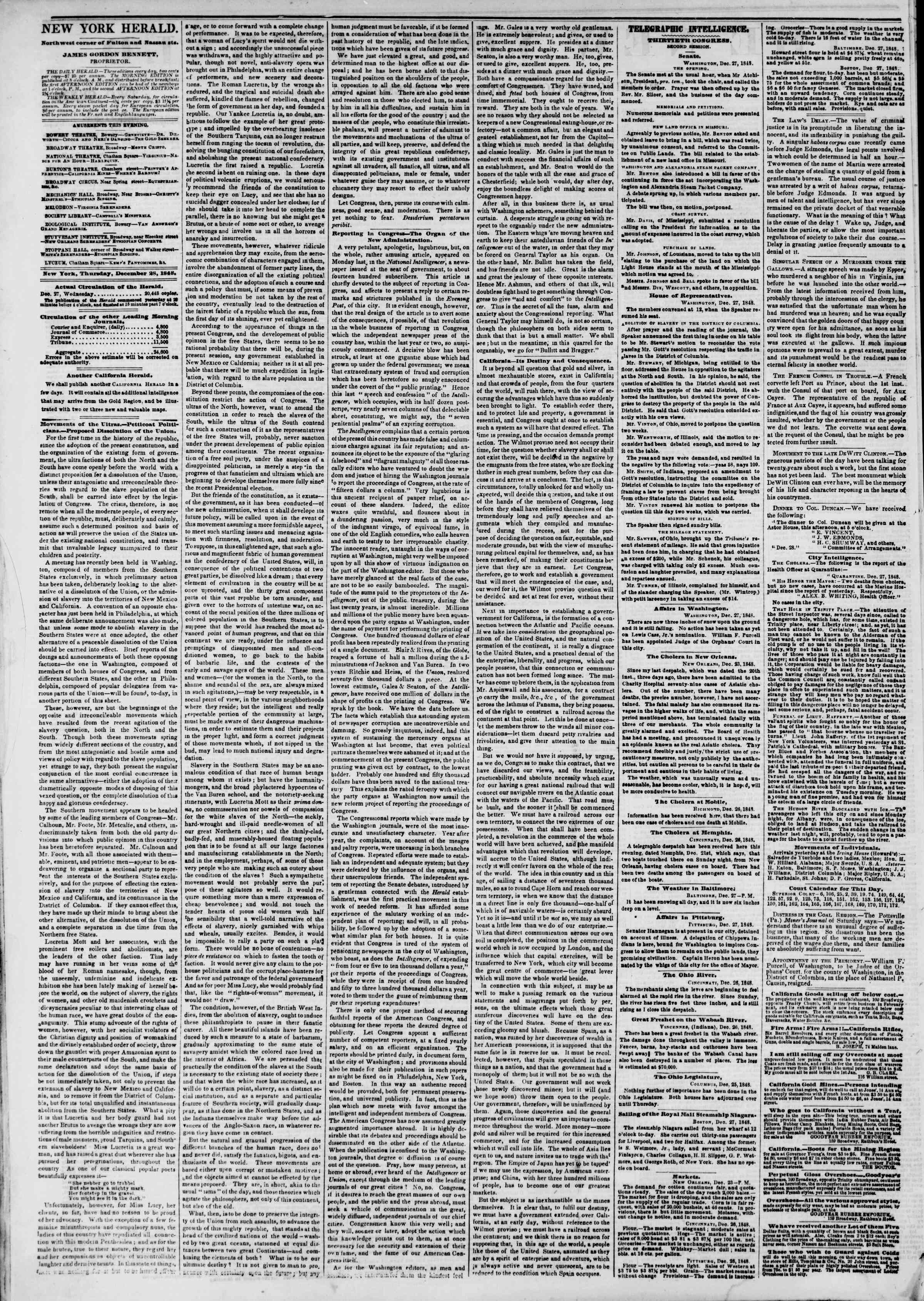 Newspaper of The New York Herald dated December 28, 1848 Page 2