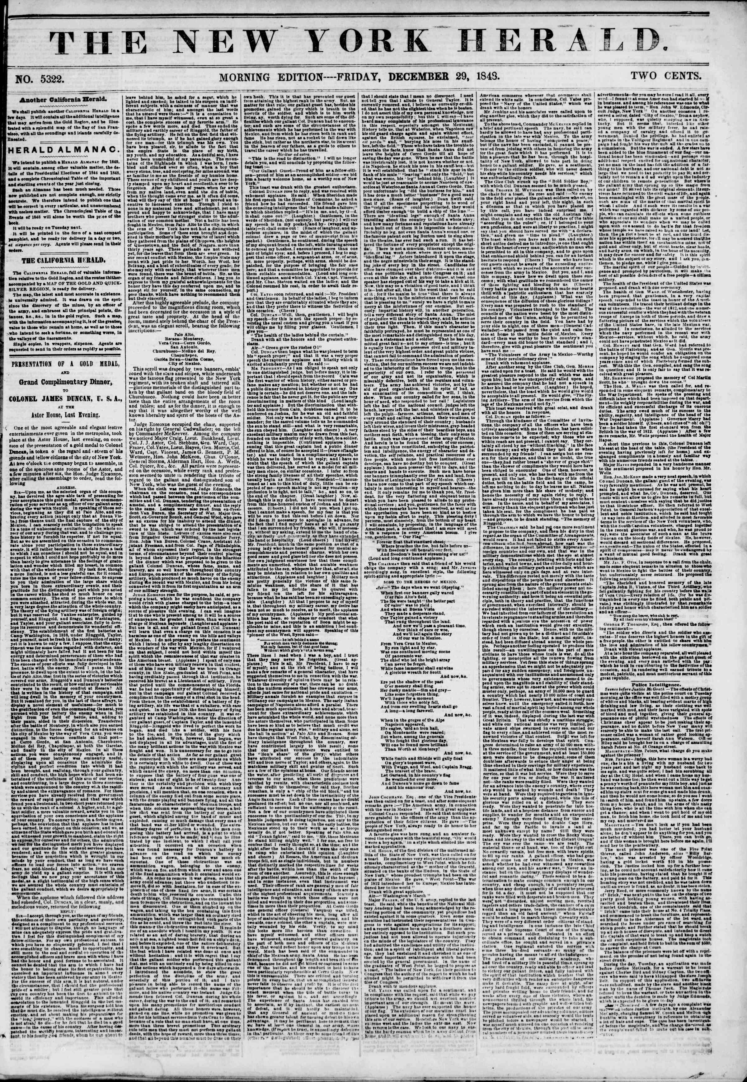 Newspaper of The New York Herald dated December 29, 1848 Page 1