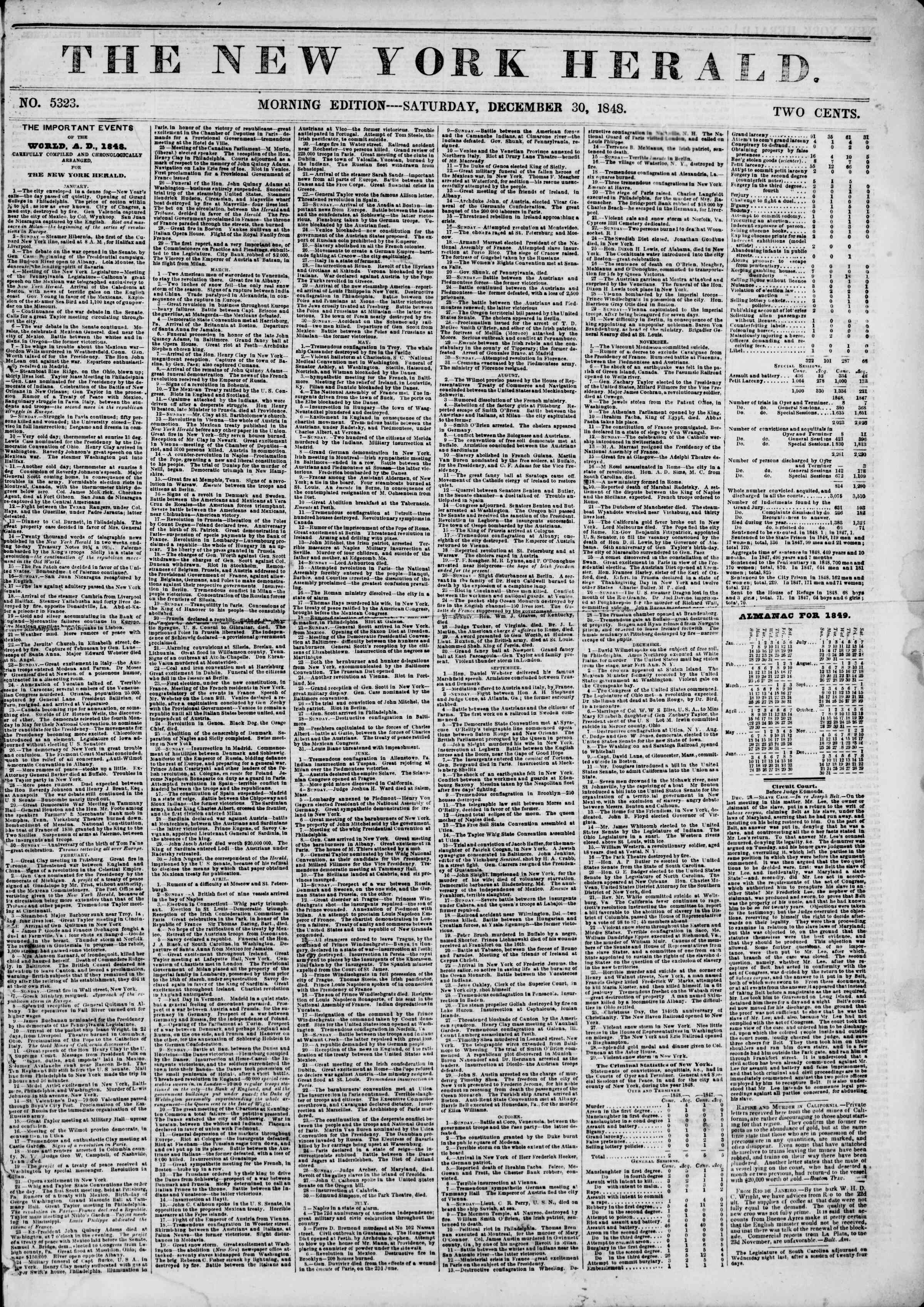 Newspaper of The New York Herald dated December 30, 1848 Page 1