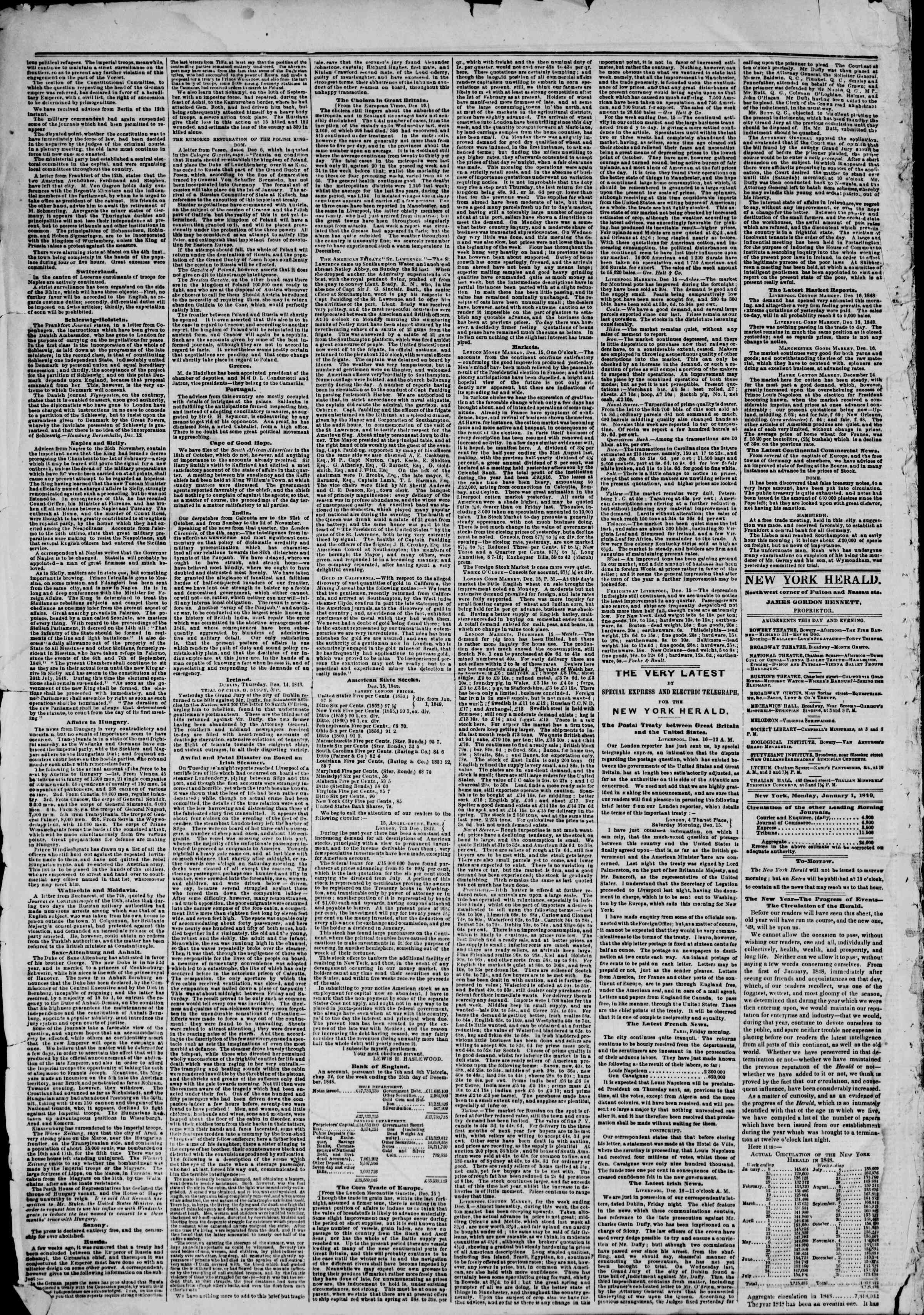 Newspaper of The New York Herald dated January 1, 1849 Page 2