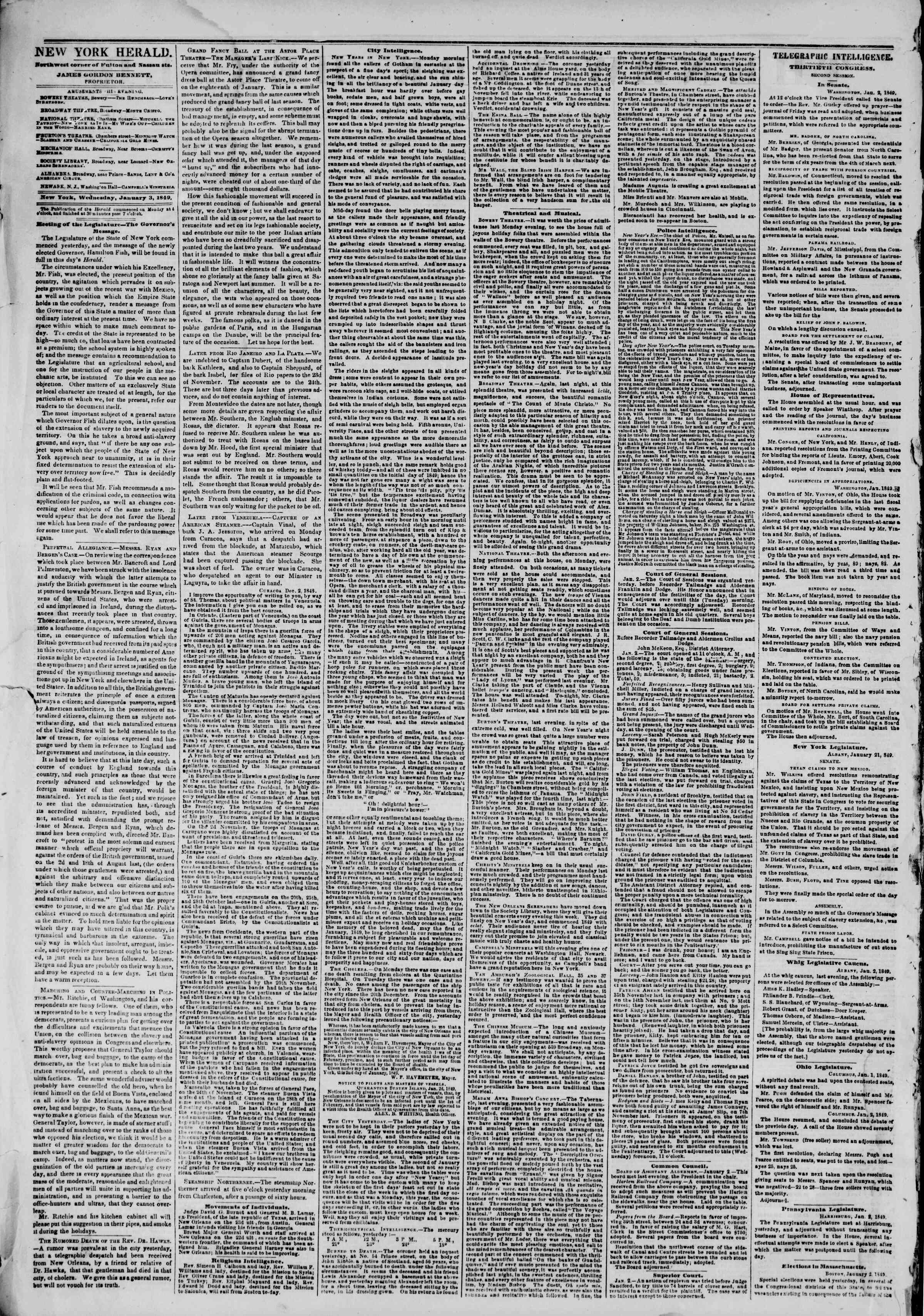 Newspaper of The New York Herald dated January 3, 1849 Page 2