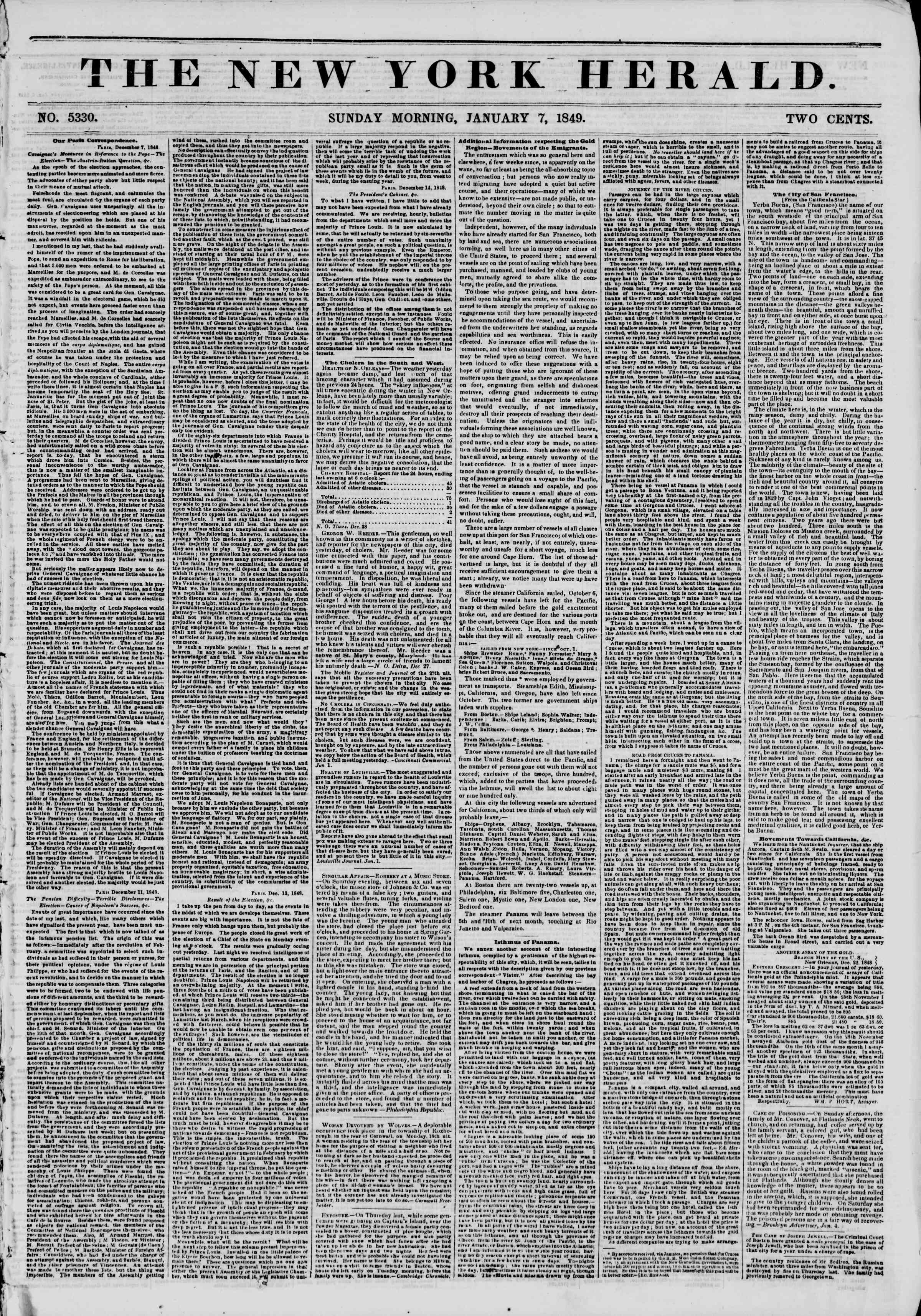 Newspaper of The New York Herald dated January 7, 1849 Page 1