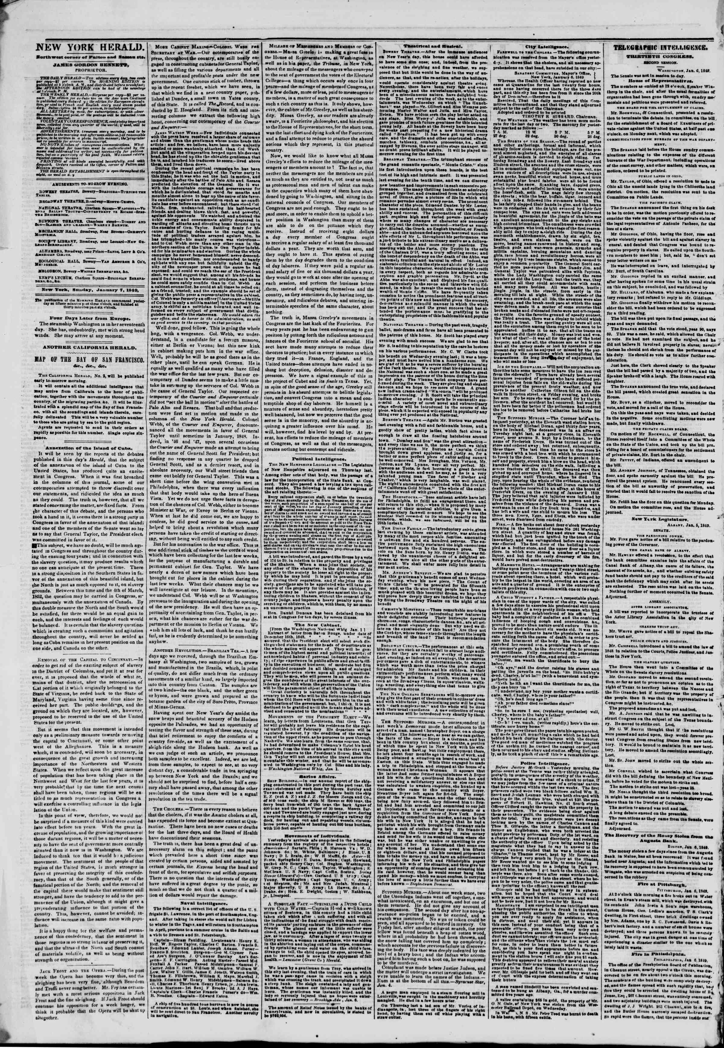 Newspaper of The New York Herald dated January 7, 1849 Page 2