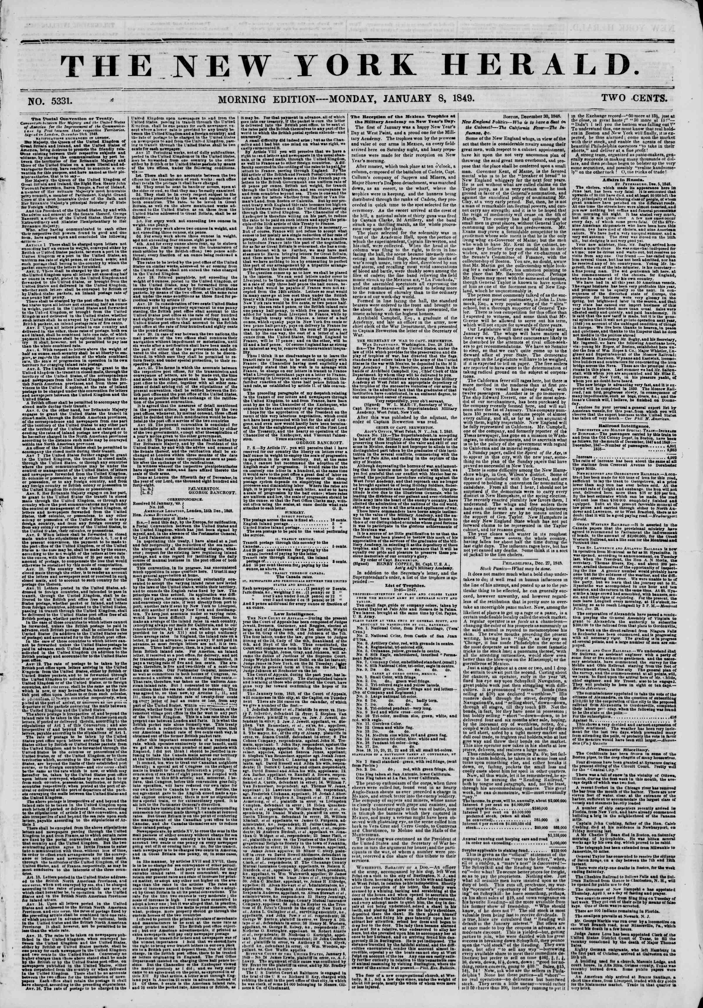 Newspaper of The New York Herald dated January 8, 1849 Page 1