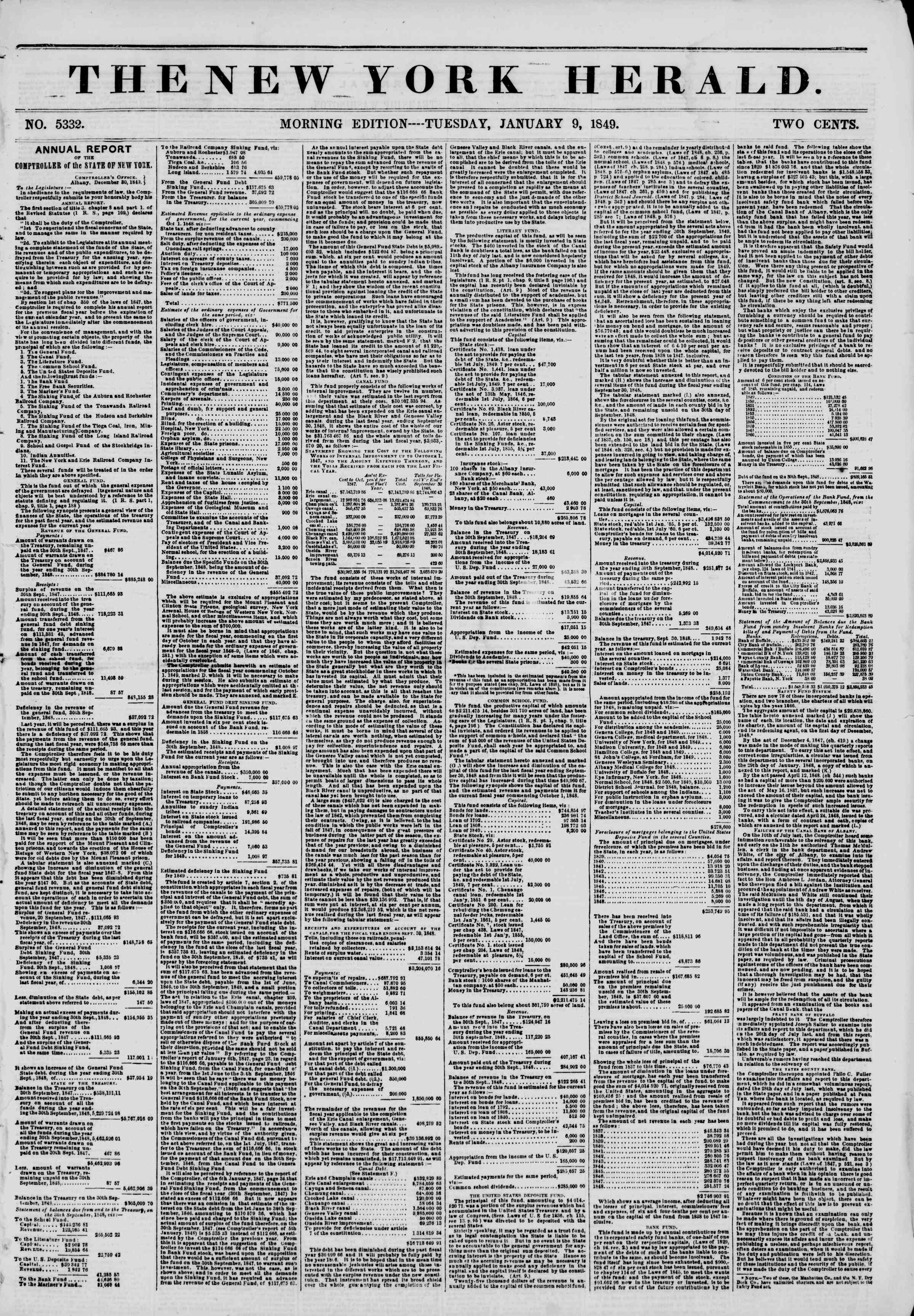 Newspaper of The New York Herald dated January 9, 1849 Page 1