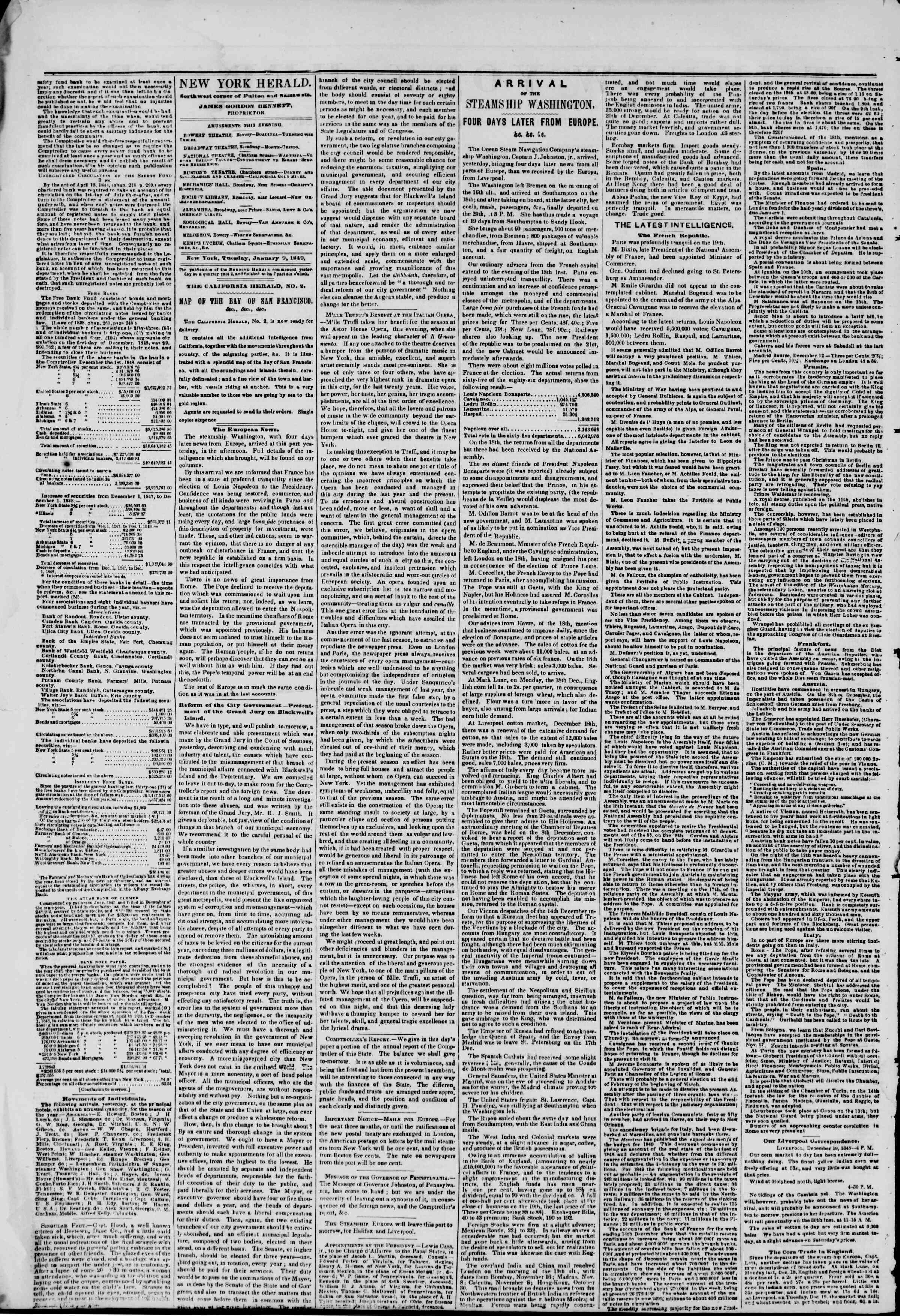 Newspaper of The New York Herald dated January 9, 1849 Page 2
