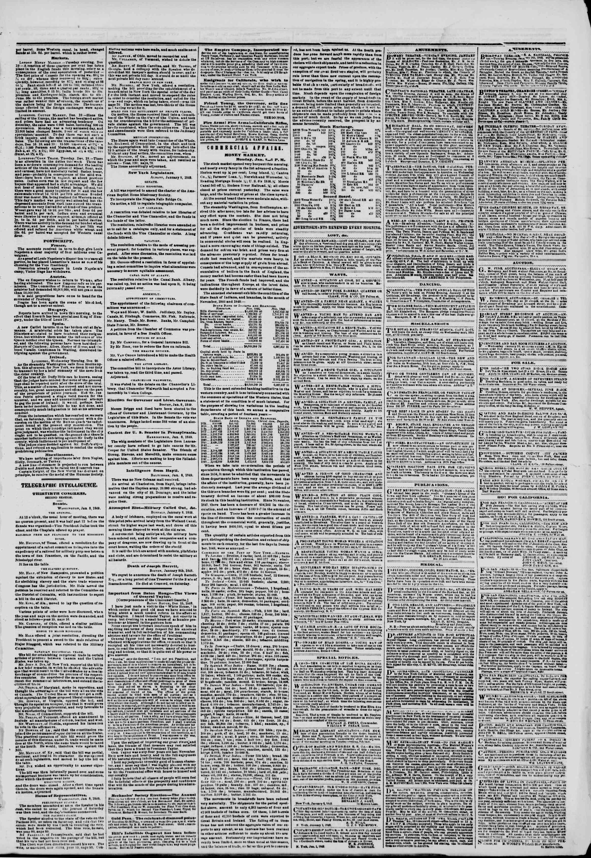 Newspaper of The New York Herald dated January 9, 1849 Page 3