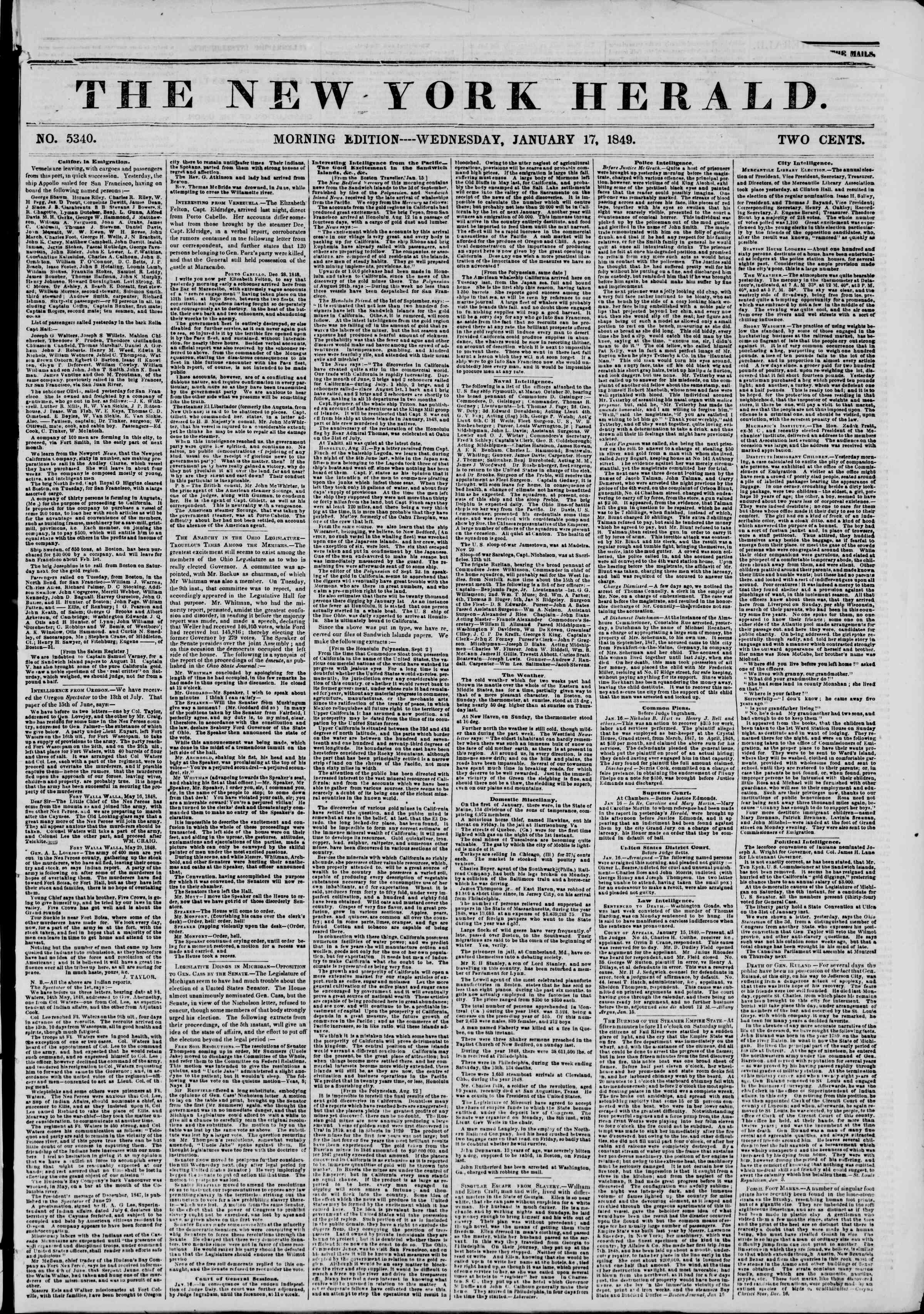 17 Ocak 1849 tarihli The New York Herald Gazetesi Sayfa 1