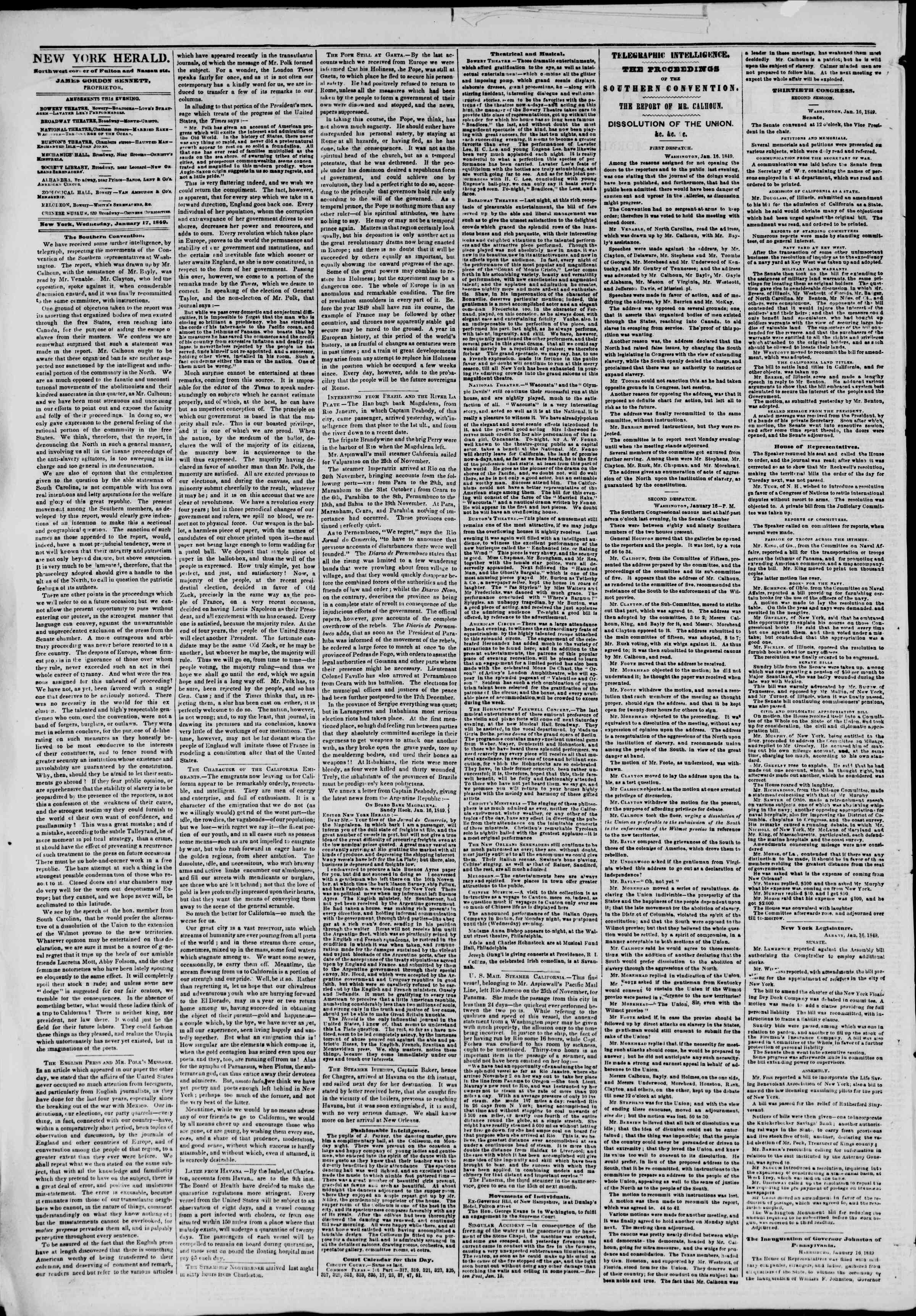 Newspaper of The New York Herald dated January 17, 1849 Page 2