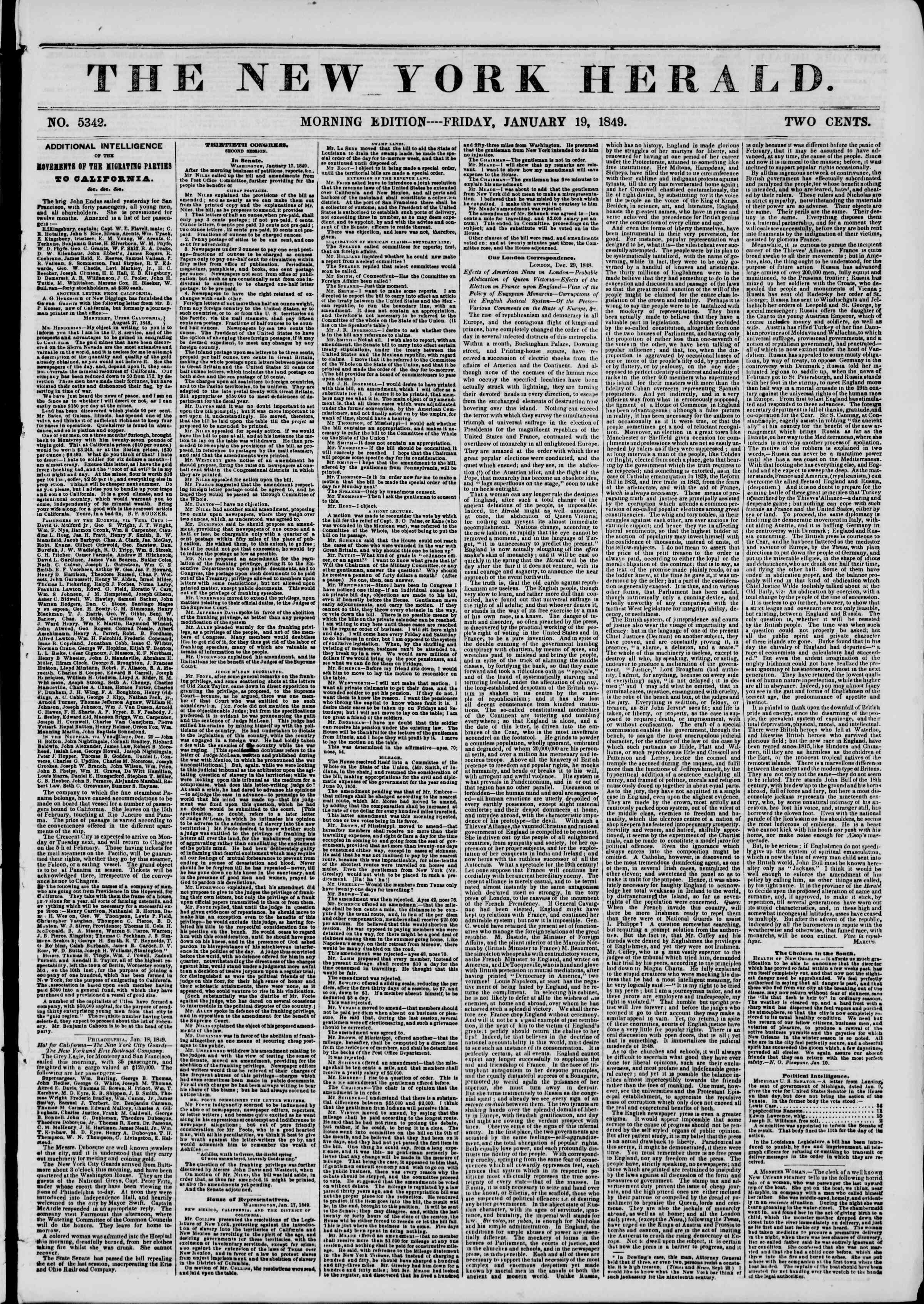19 Ocak 1849 tarihli The New York Herald Gazetesi Sayfa 1