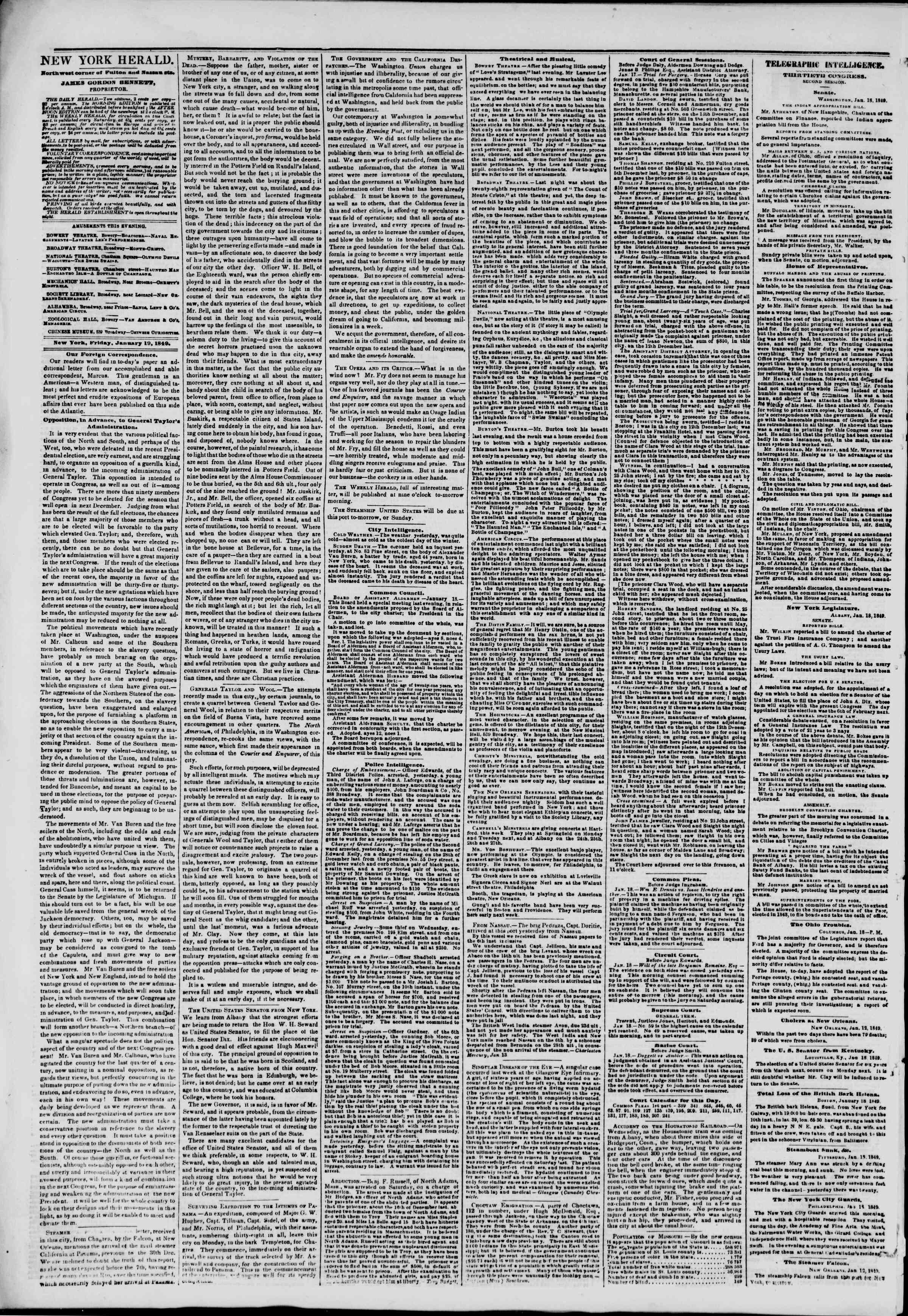 Newspaper of The New York Herald dated January 19, 1849 Page 2