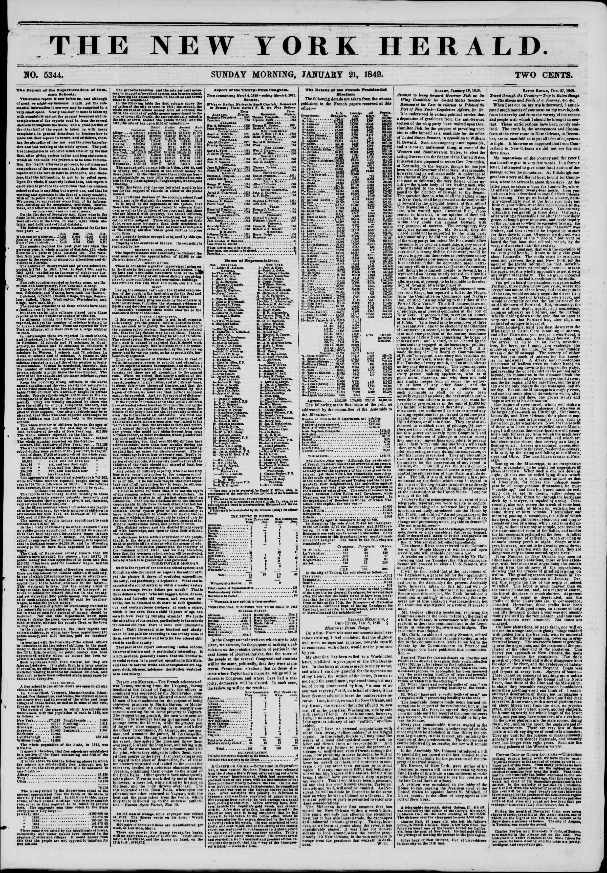 21 Ocak 1849 tarihli The New York Herald Gazetesi Sayfa 1