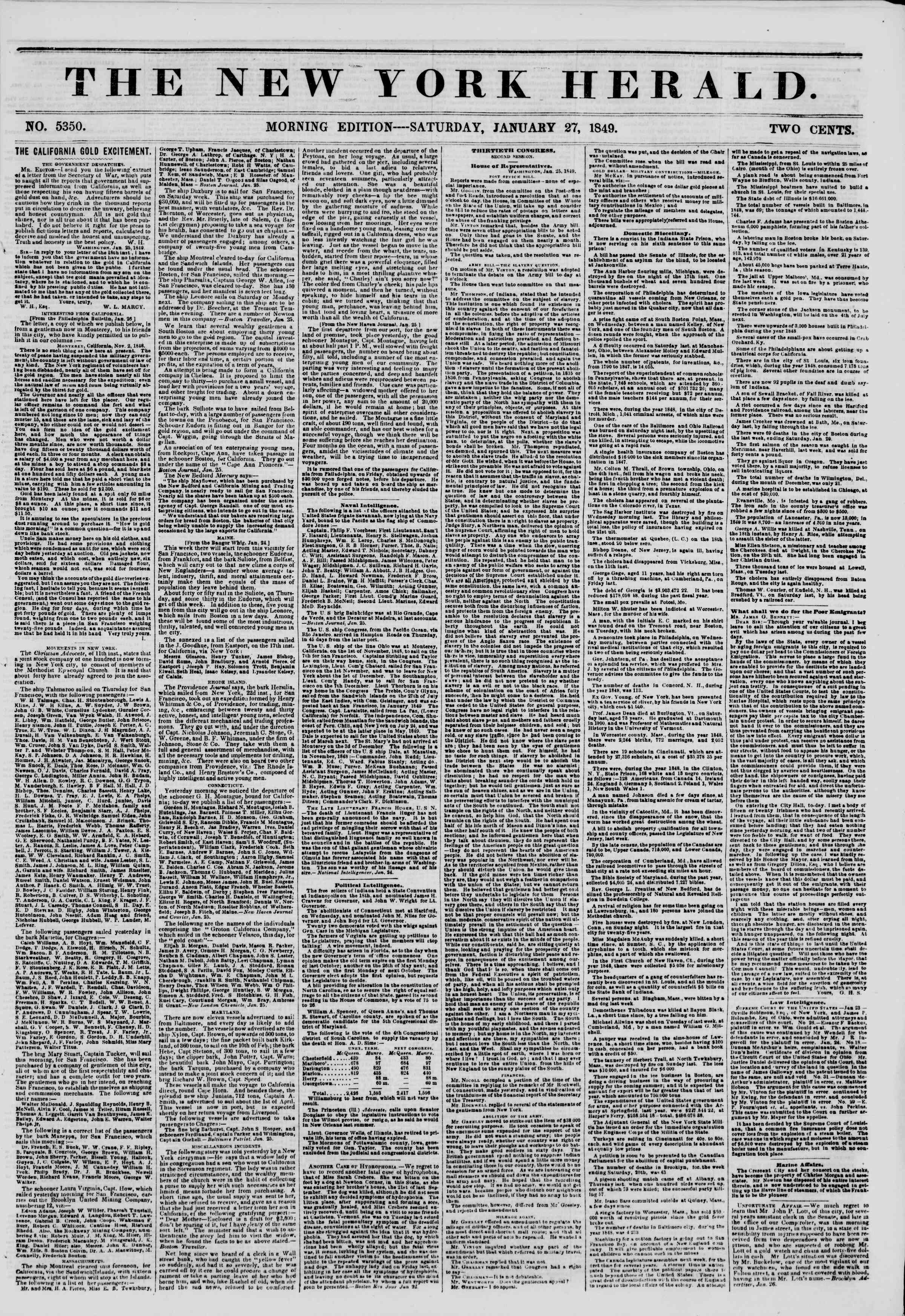Newspaper of The New York Herald dated January 27, 1849 Page 1