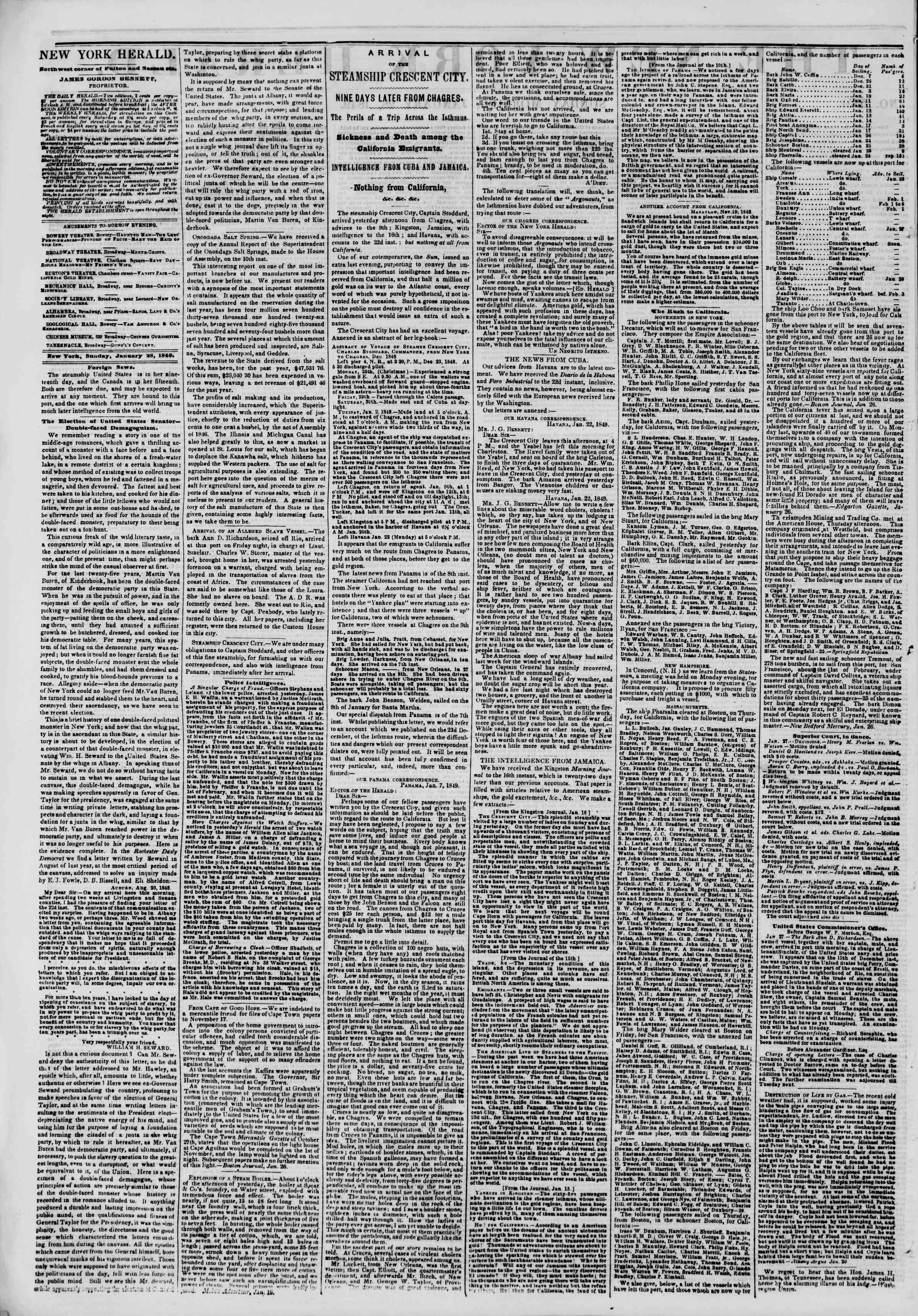 Newspaper of The New York Herald dated January 28, 1849 Page 2