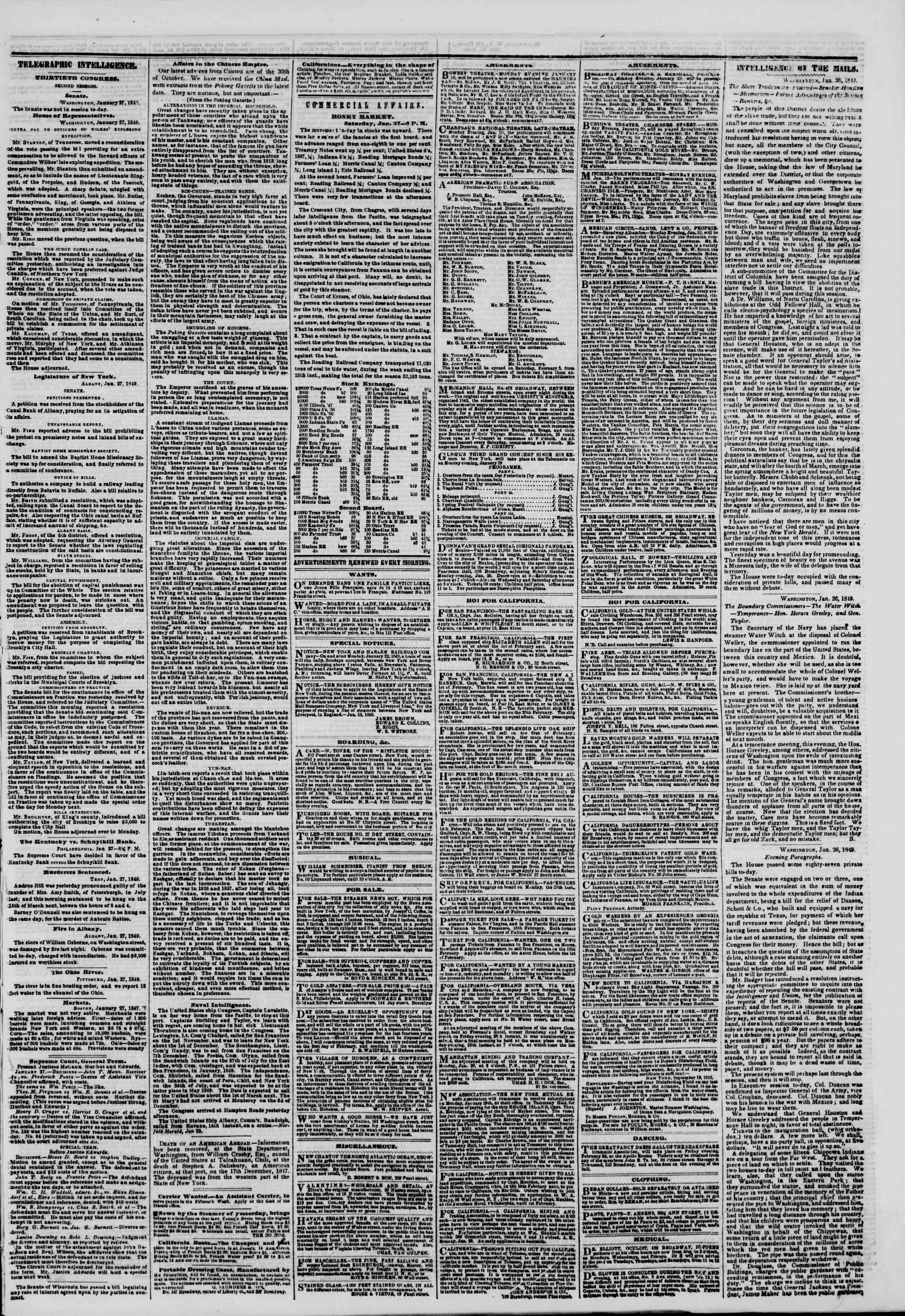 Newspaper of The New York Herald dated January 28, 1849 Page 3
