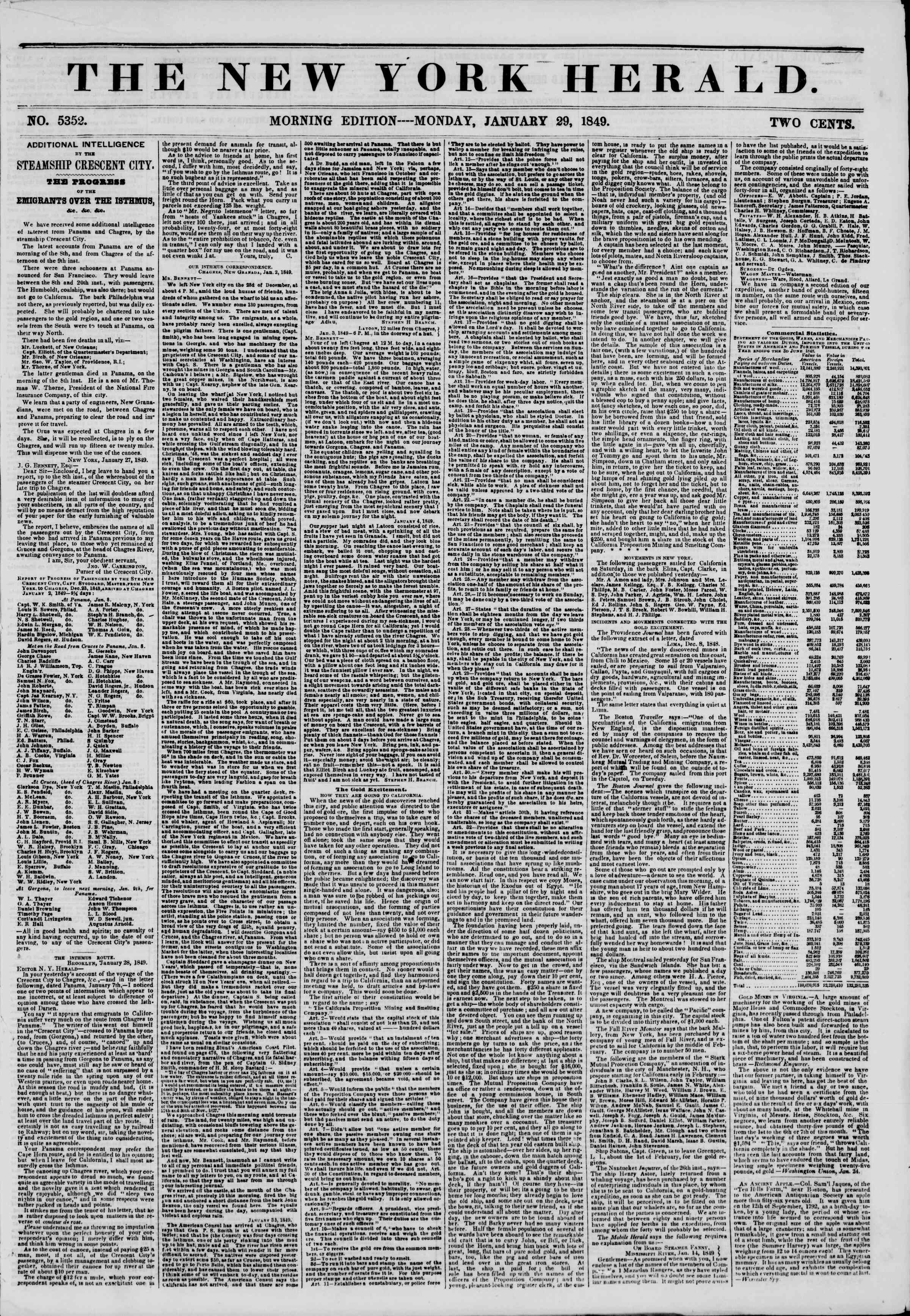 Newspaper of The New York Herald dated January 29, 1849 Page 1