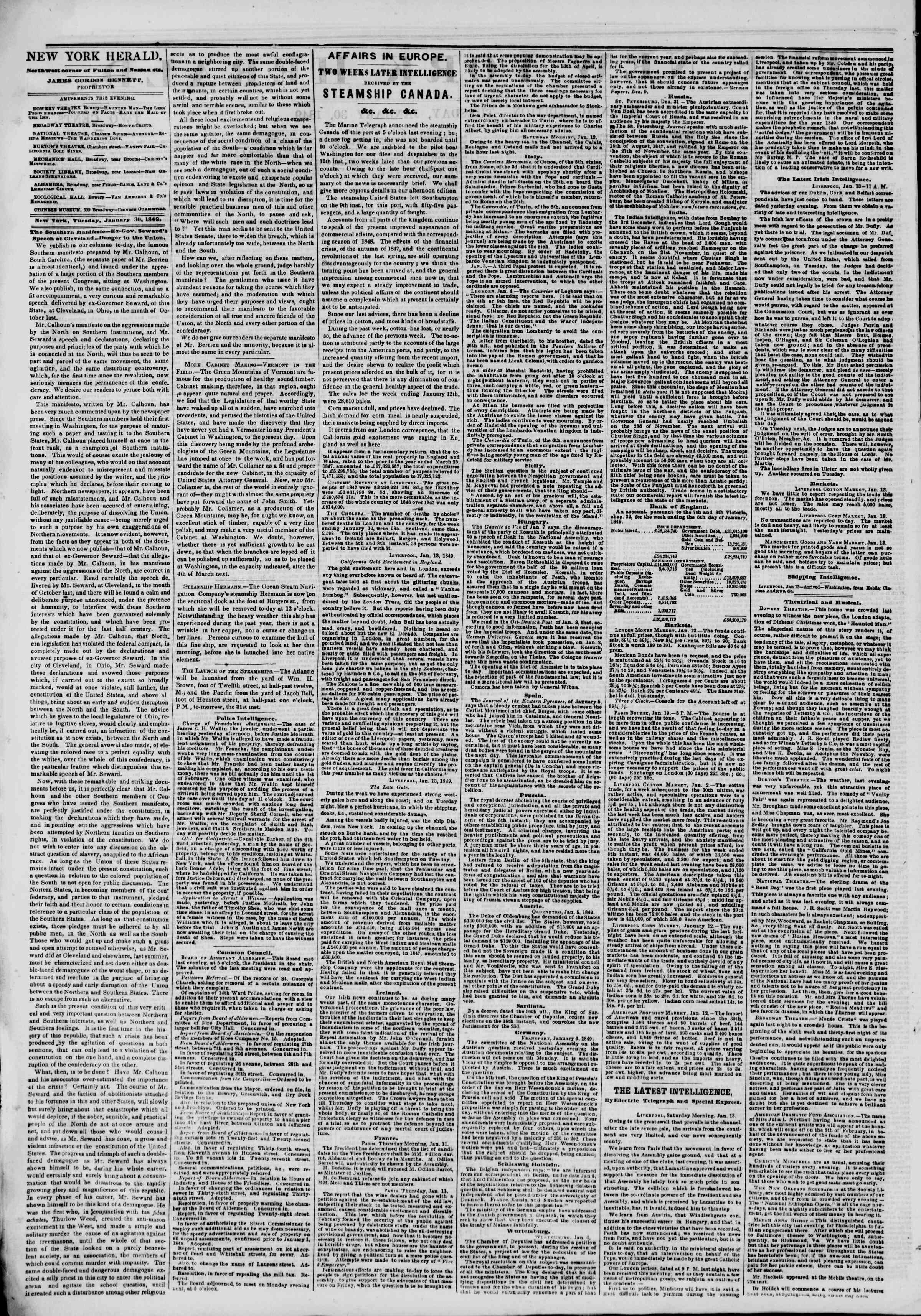 Newspaper of The New York Herald dated 30 Ocak 1849 Page 2