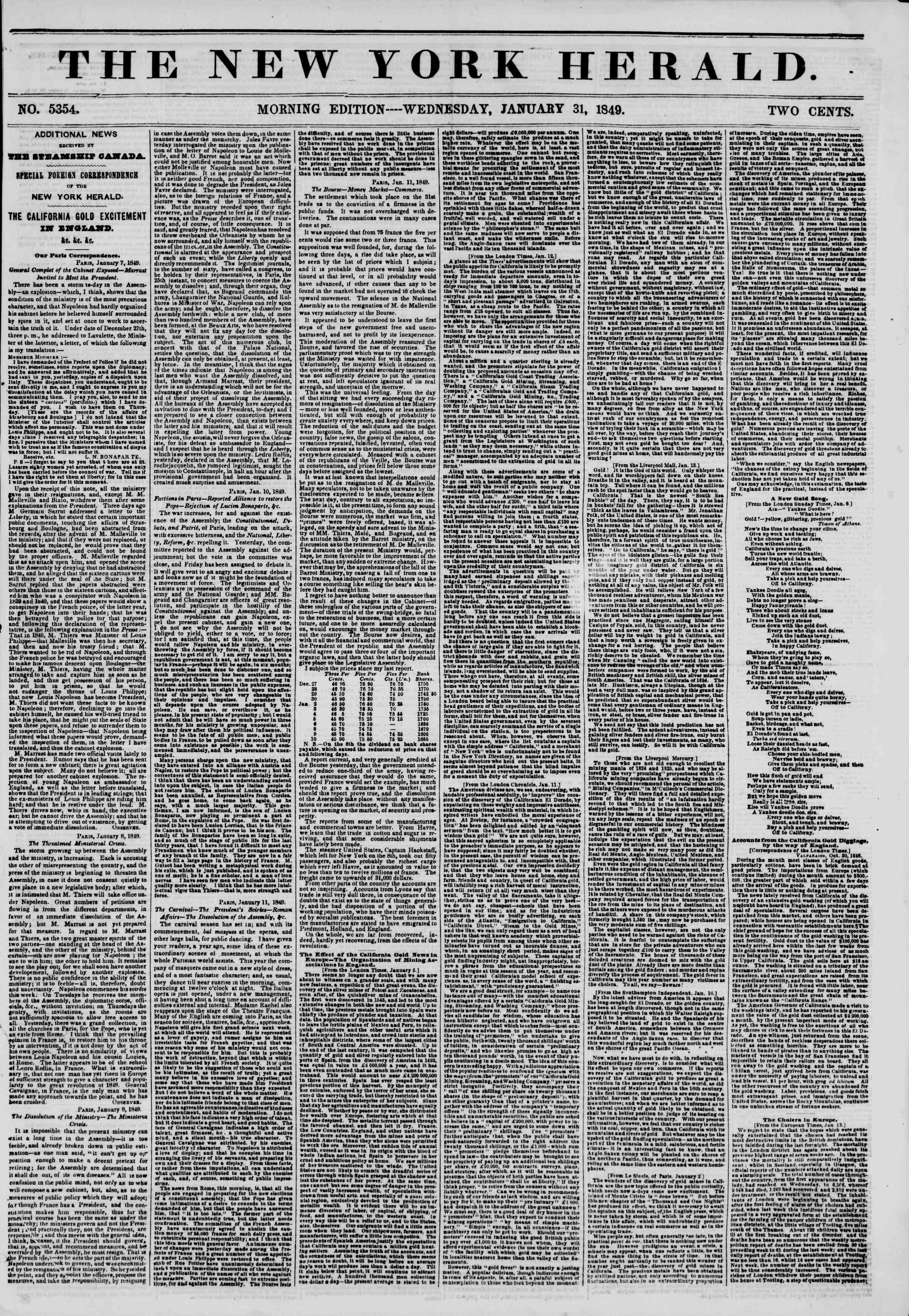 Newspaper of The New York Herald dated January 31, 1849 Page 1
