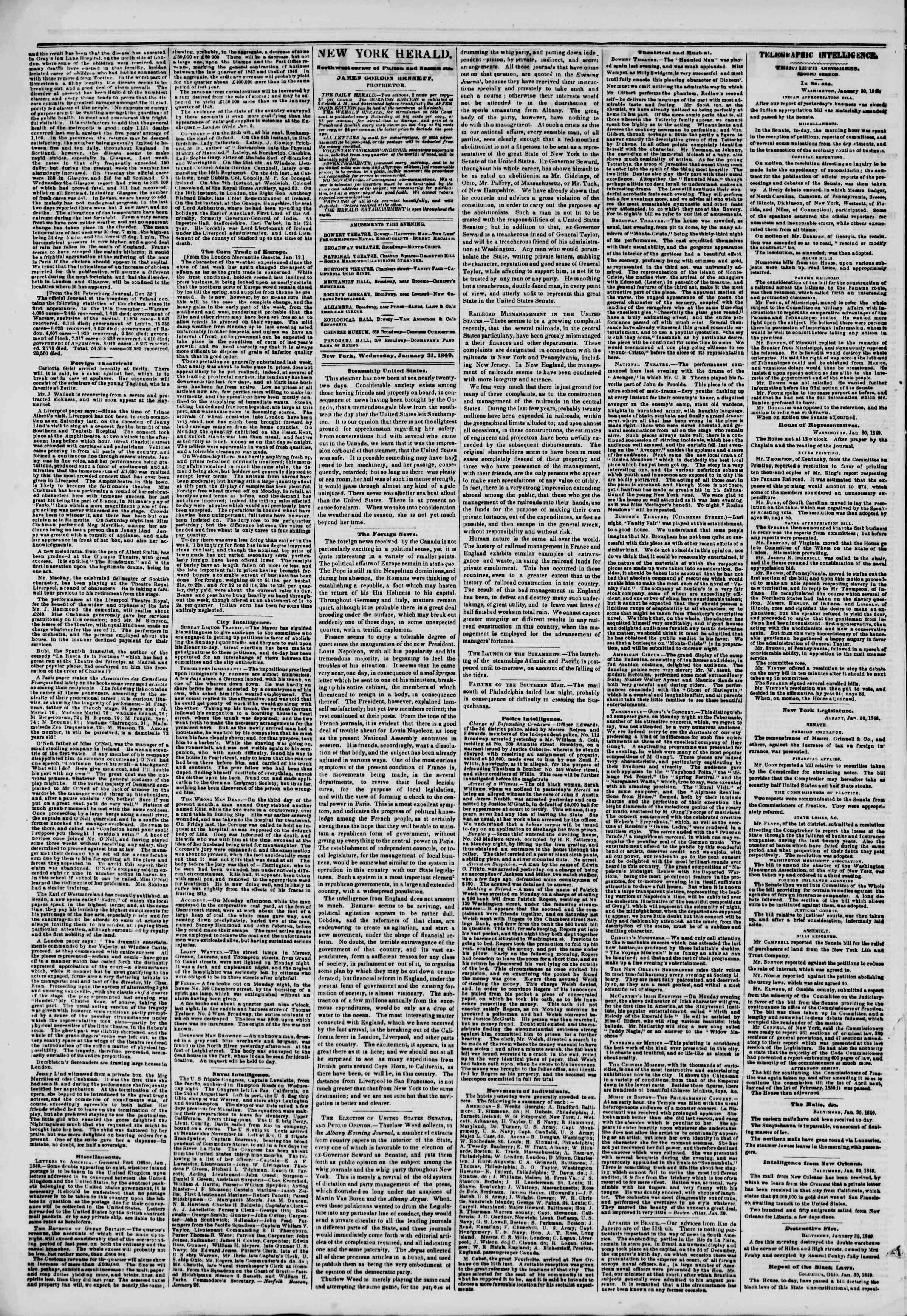 Newspaper of The New York Herald dated January 31, 1849 Page 2