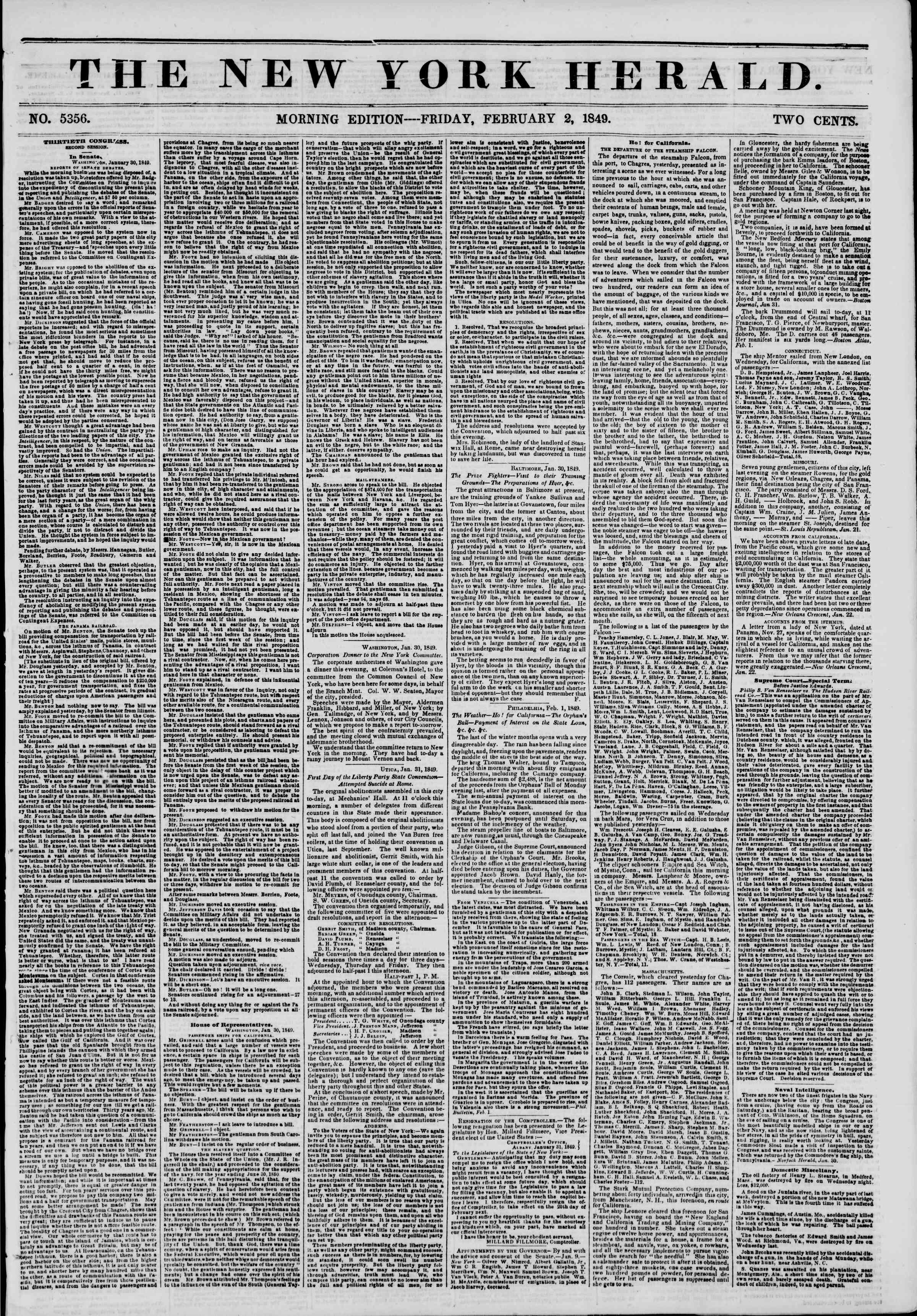 Newspaper of The New York Herald dated February 2, 1849 Page 1