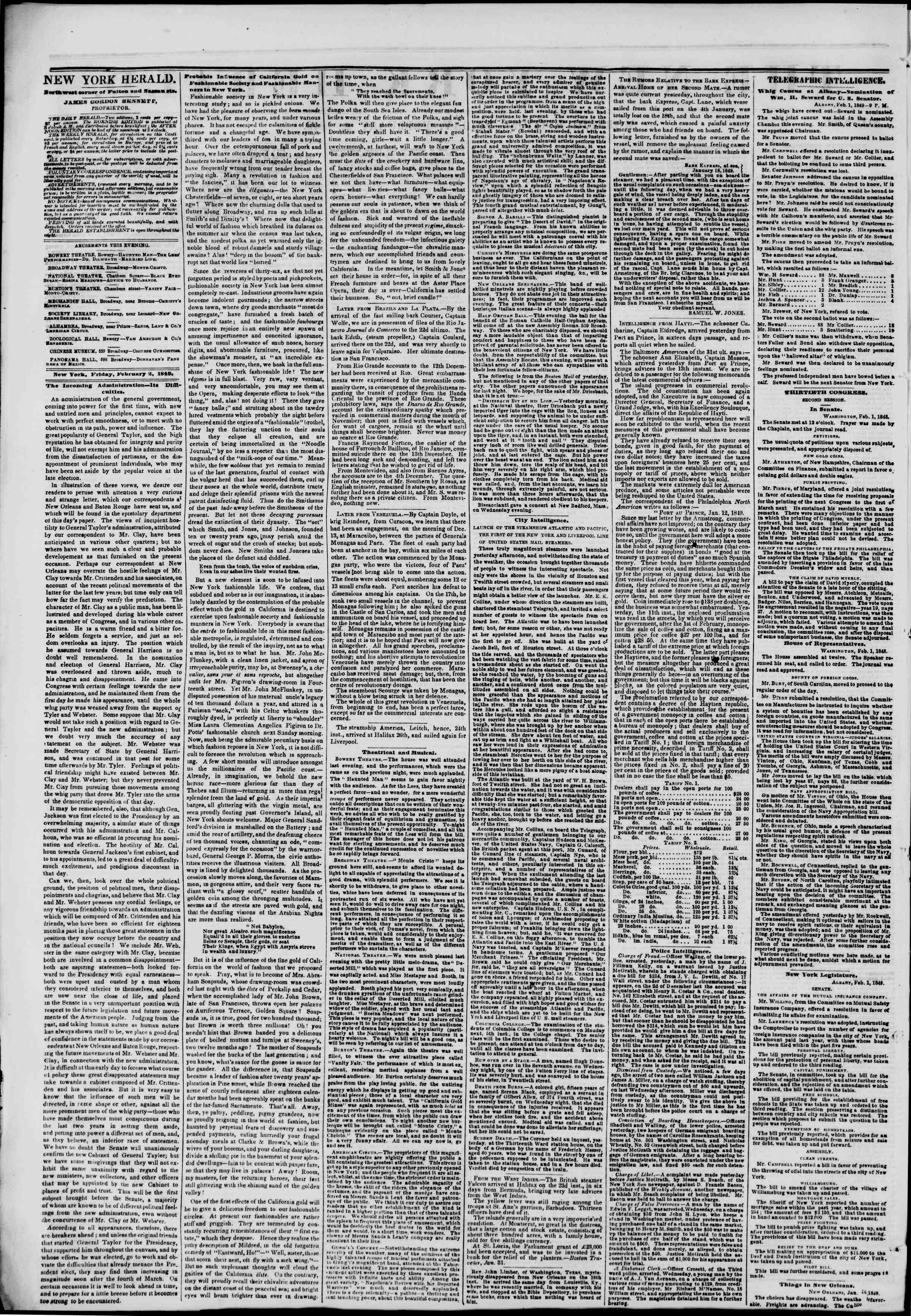 Newspaper of The New York Herald dated February 2, 1849 Page 2