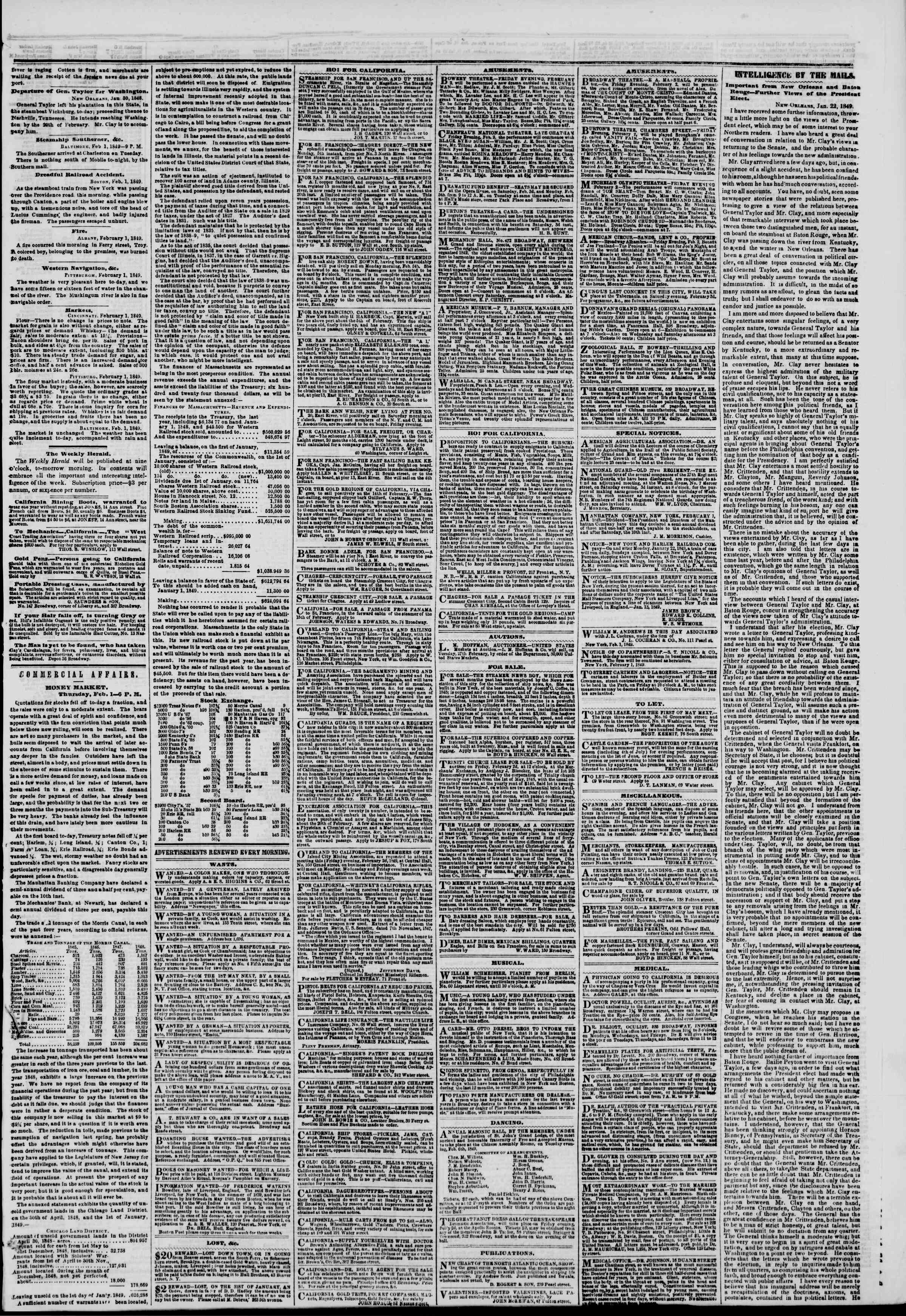 Newspaper of The New York Herald dated February 2, 1849 Page 3