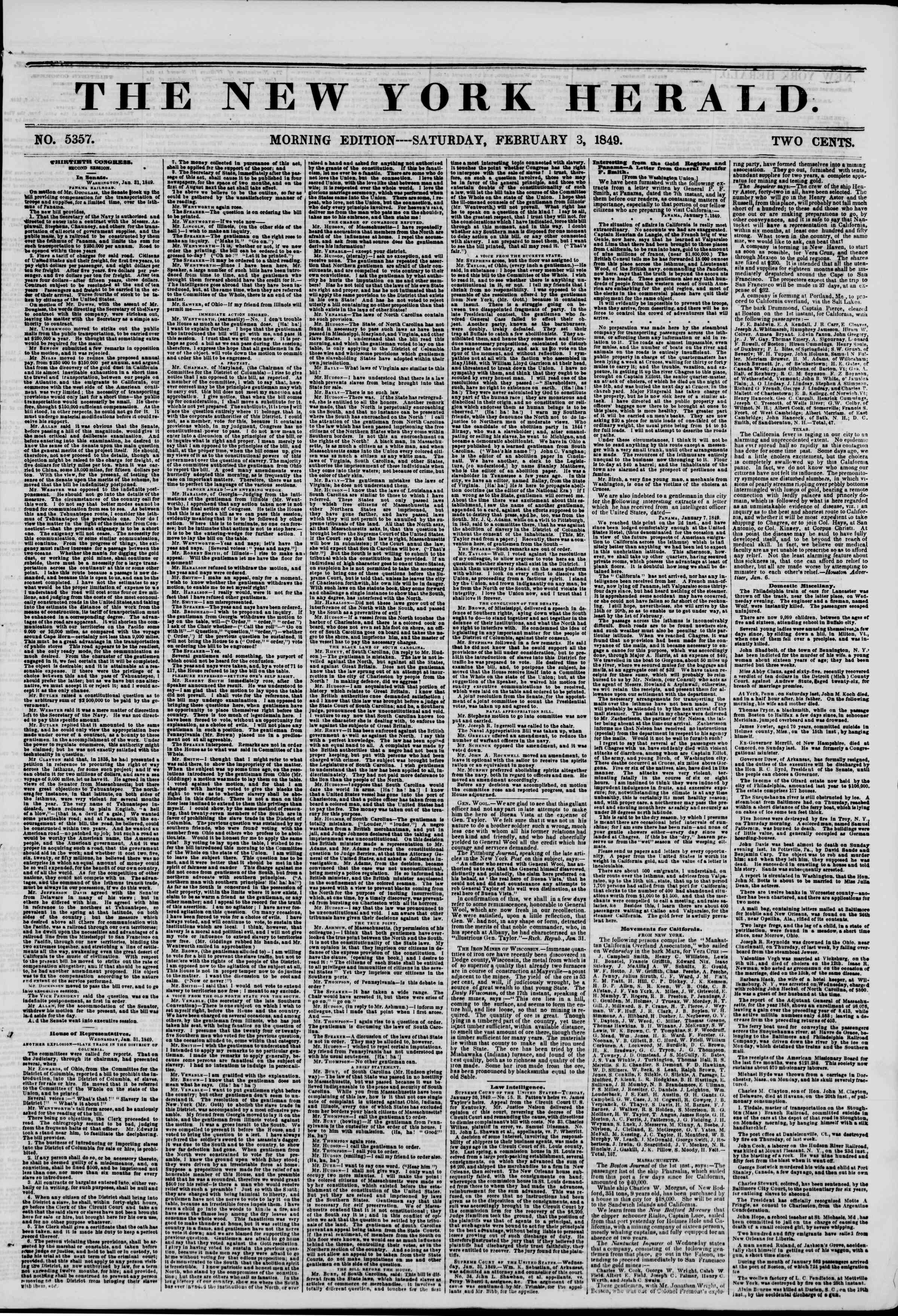 Newspaper of The New York Herald dated February 3, 1849 Page 1