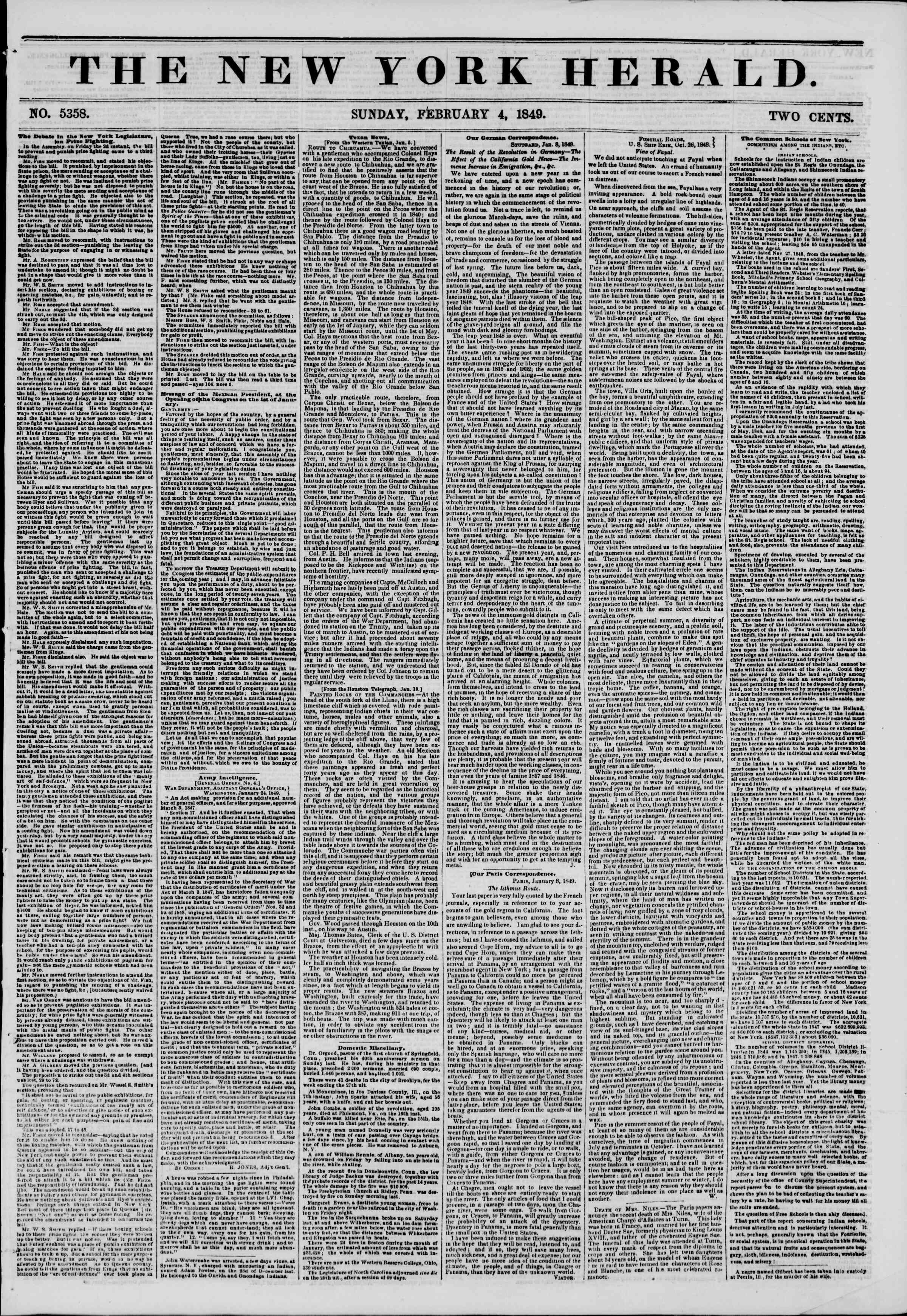 Newspaper of The New York Herald dated February 4, 1849 Page 1