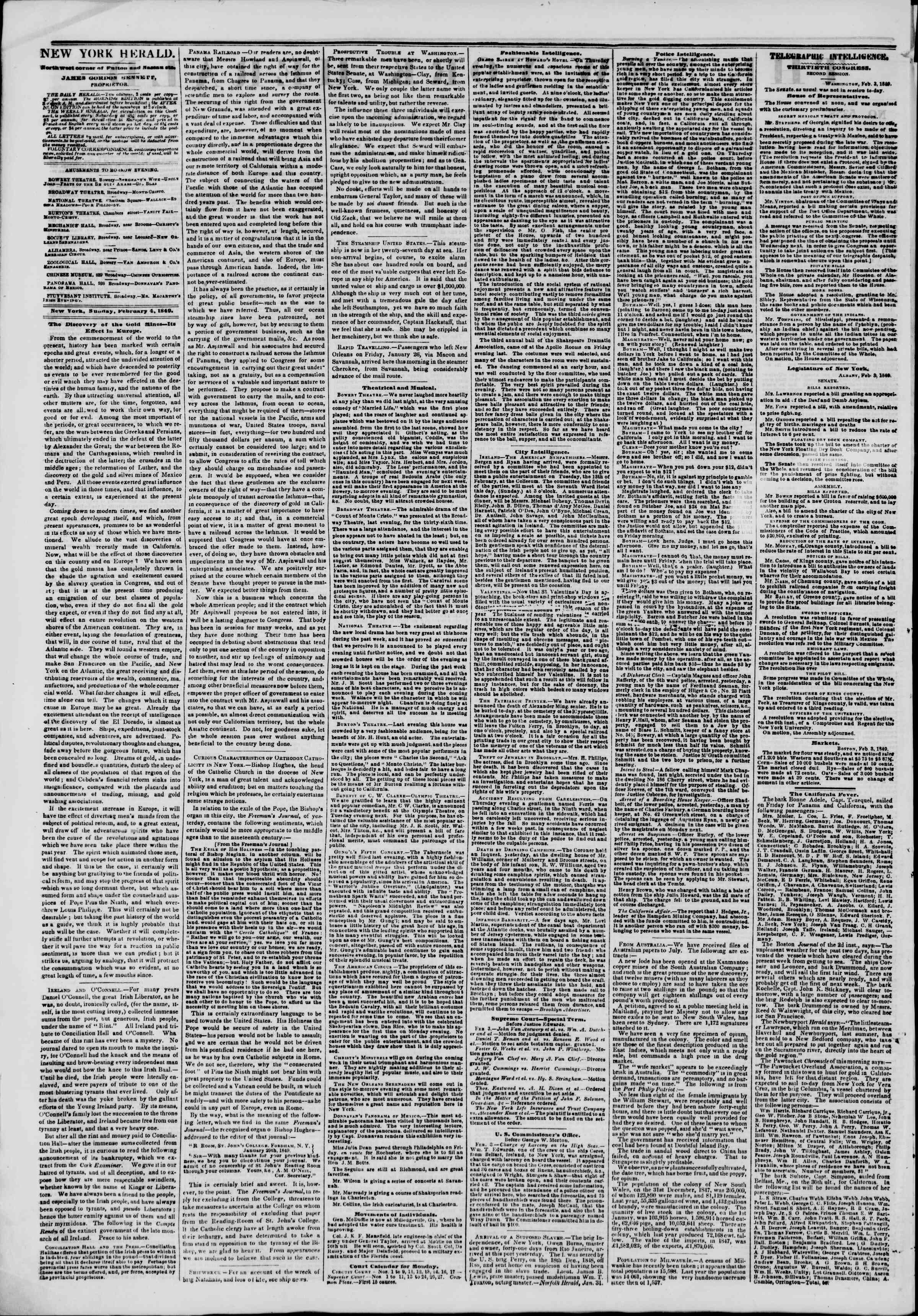 Newspaper of The New York Herald dated February 4, 1849 Page 2