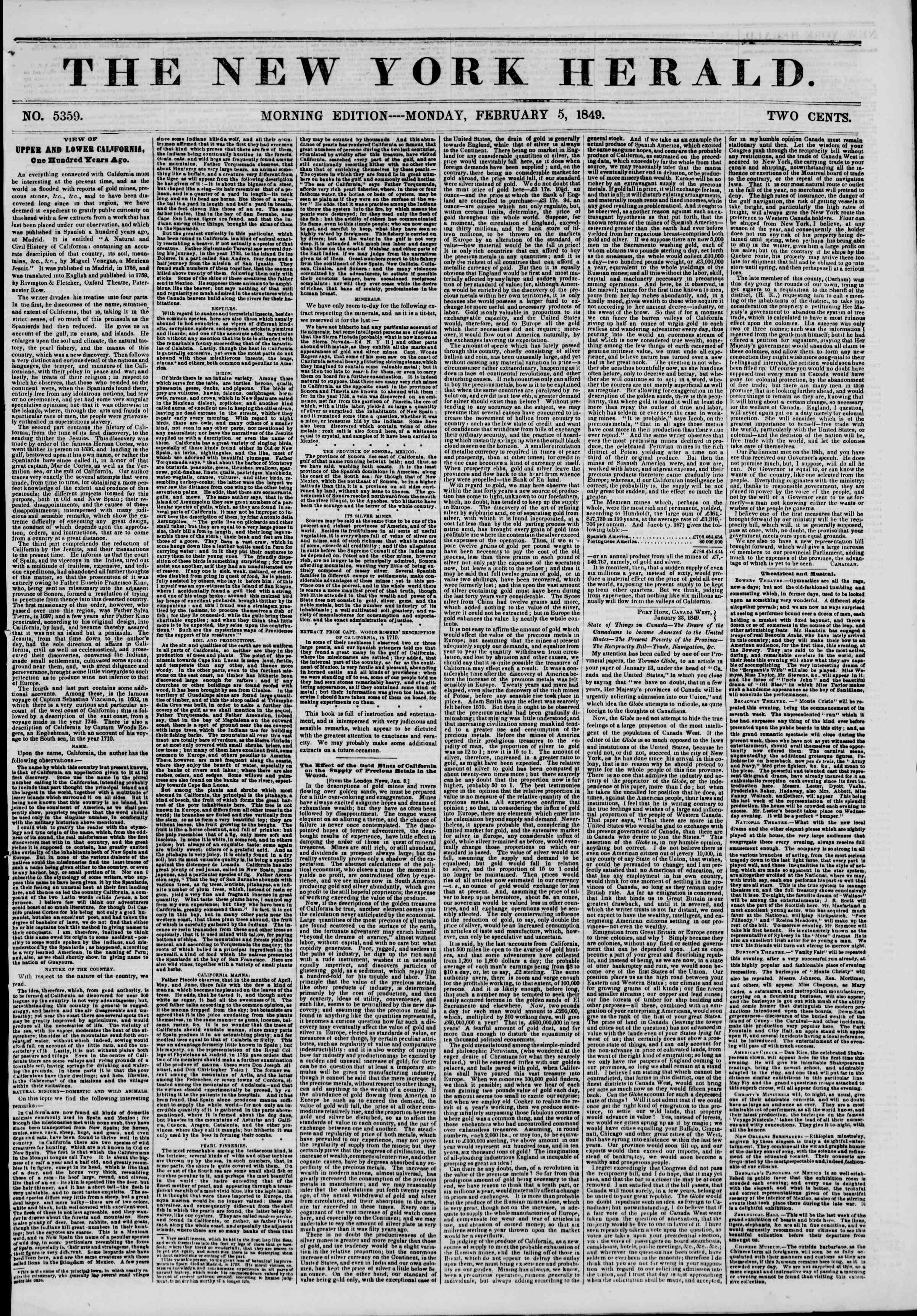 Newspaper of The New York Herald dated February 5, 1849 Page 1