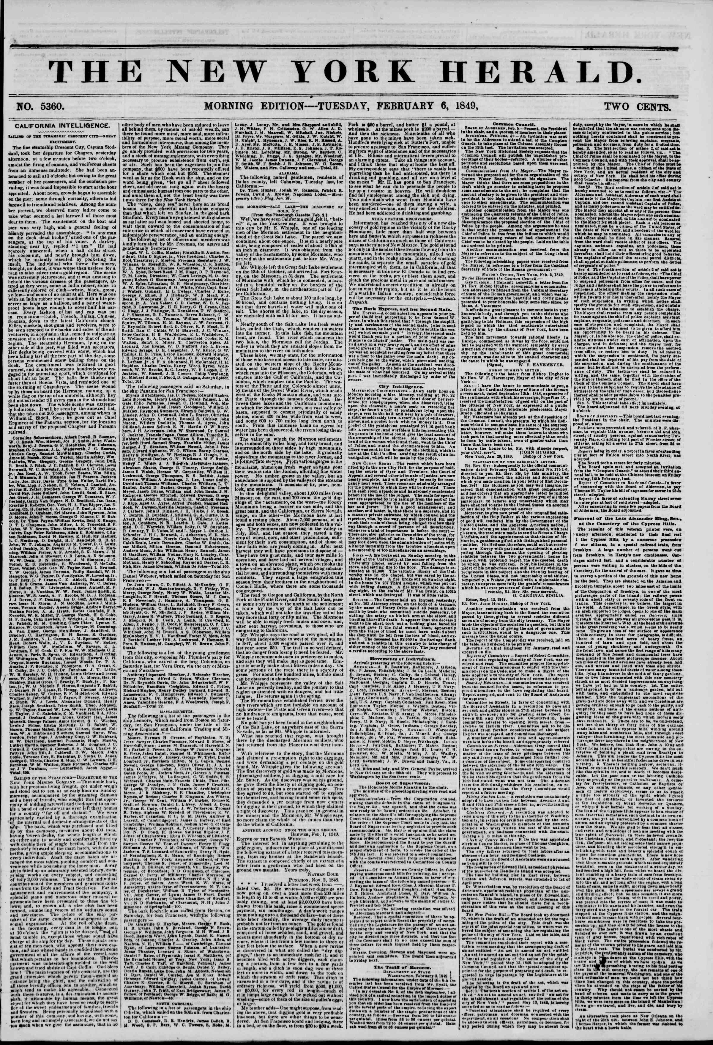 Newspaper of The New York Herald dated February 6, 1849 Page 1
