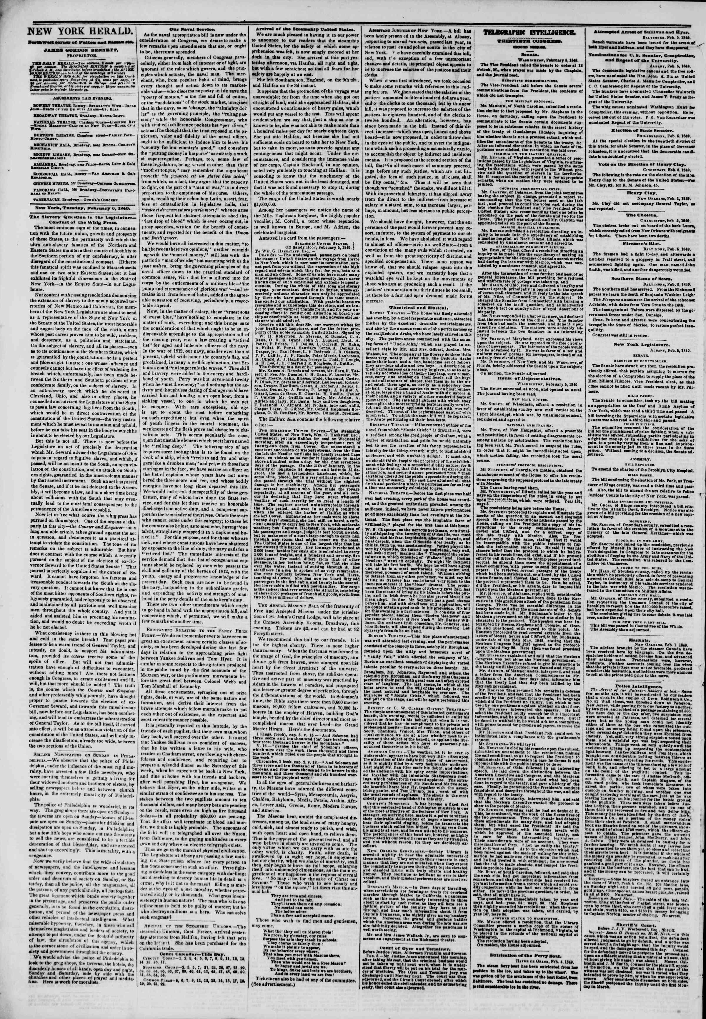 Newspaper of The New York Herald dated February 6, 1849 Page 2