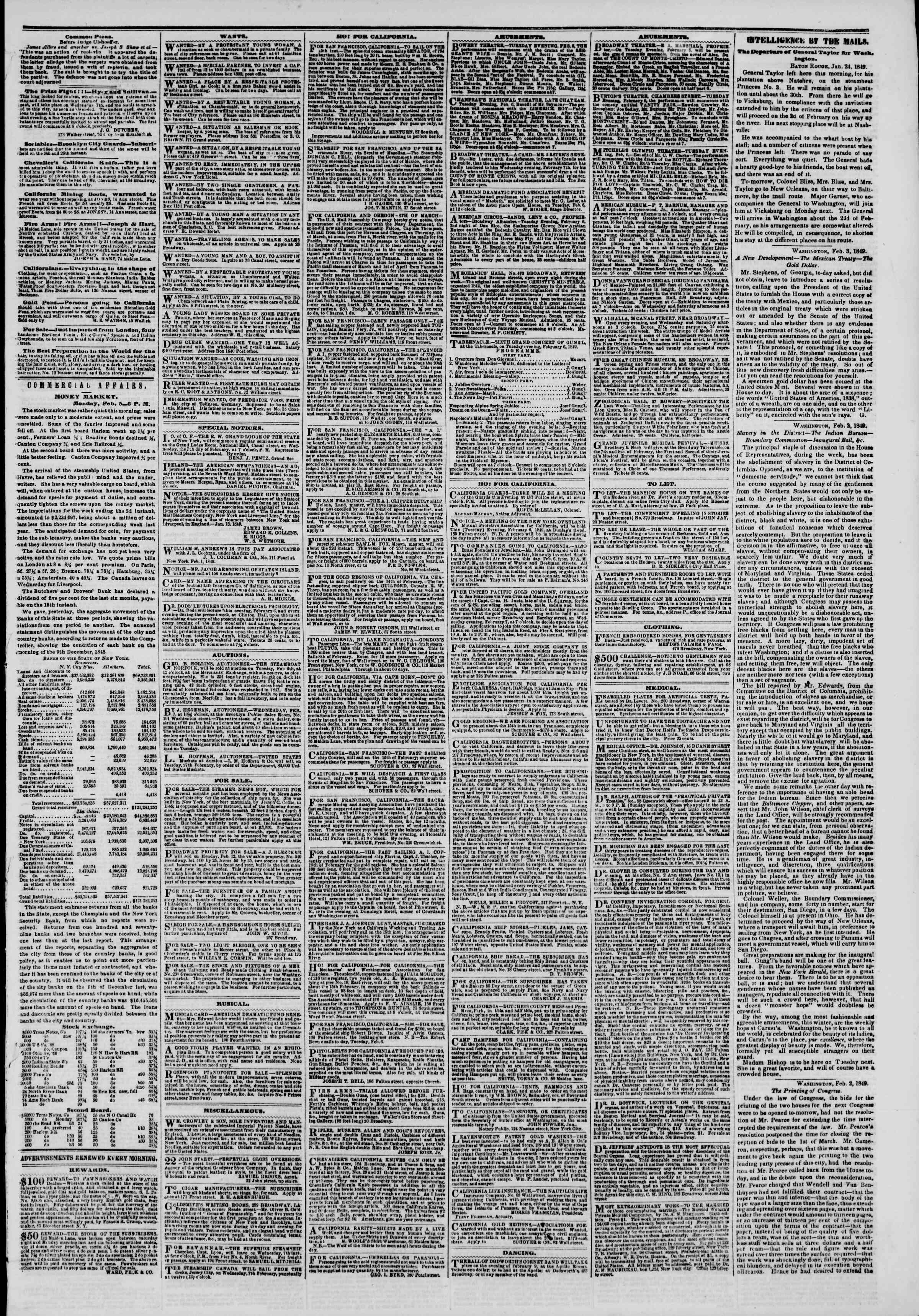 Newspaper of The New York Herald dated February 6, 1849 Page 3