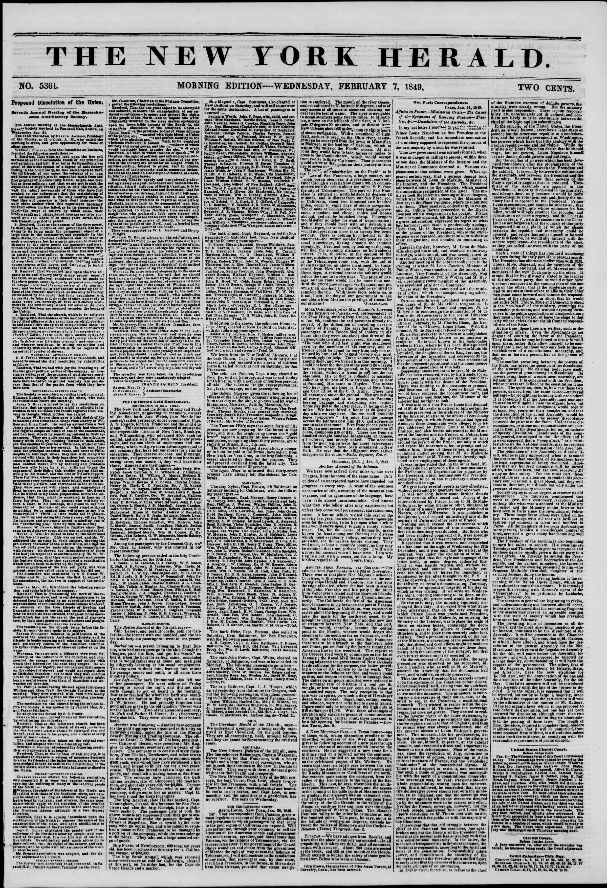 Newspaper of The New York Herald dated February 7, 1849 Page 1