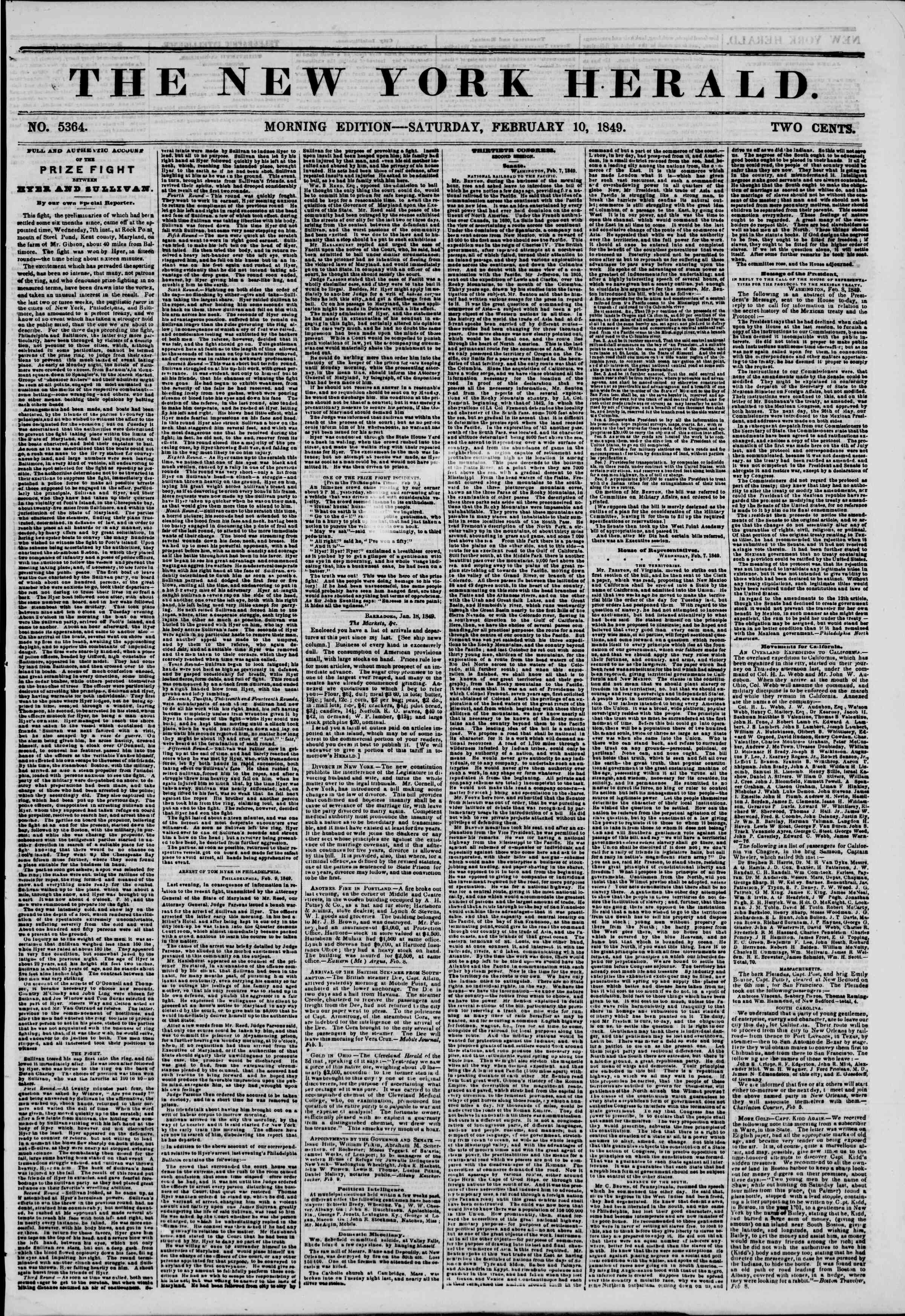 Newspaper of The New York Herald dated February 10, 1849 Page 1