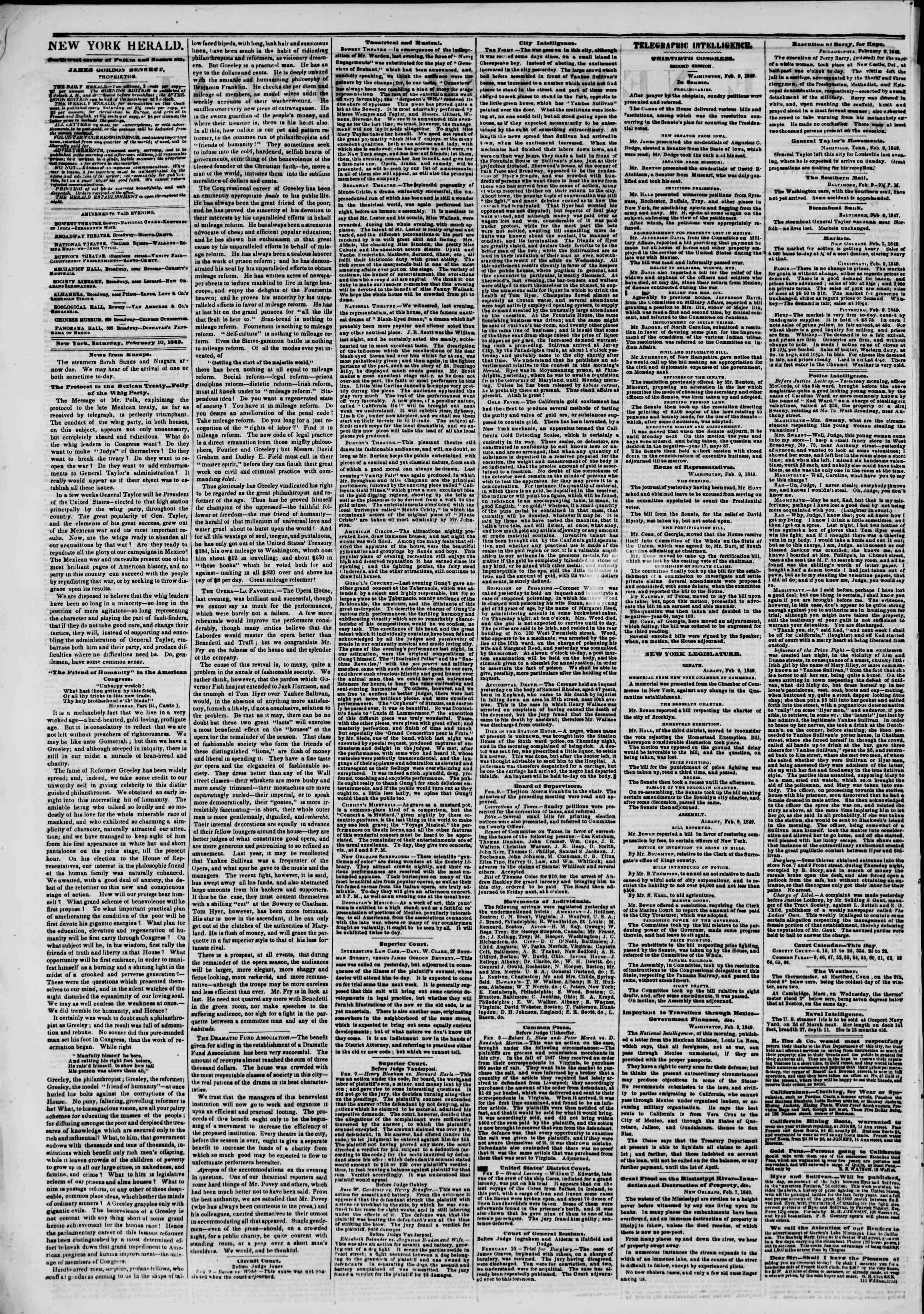 Newspaper of The New York Herald dated February 10, 1849 Page 2