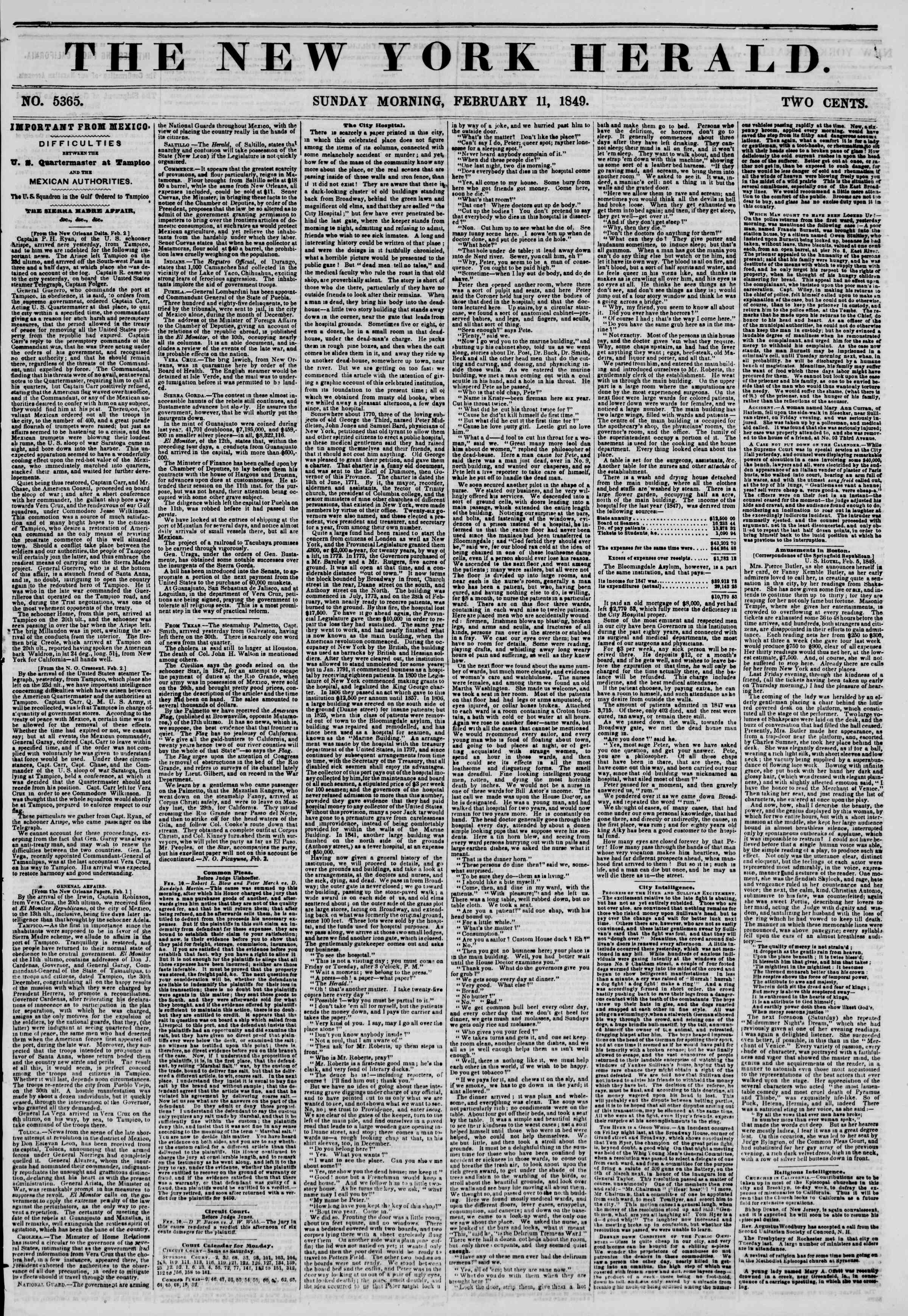 Newspaper of The New York Herald dated February 11, 1849 Page 1