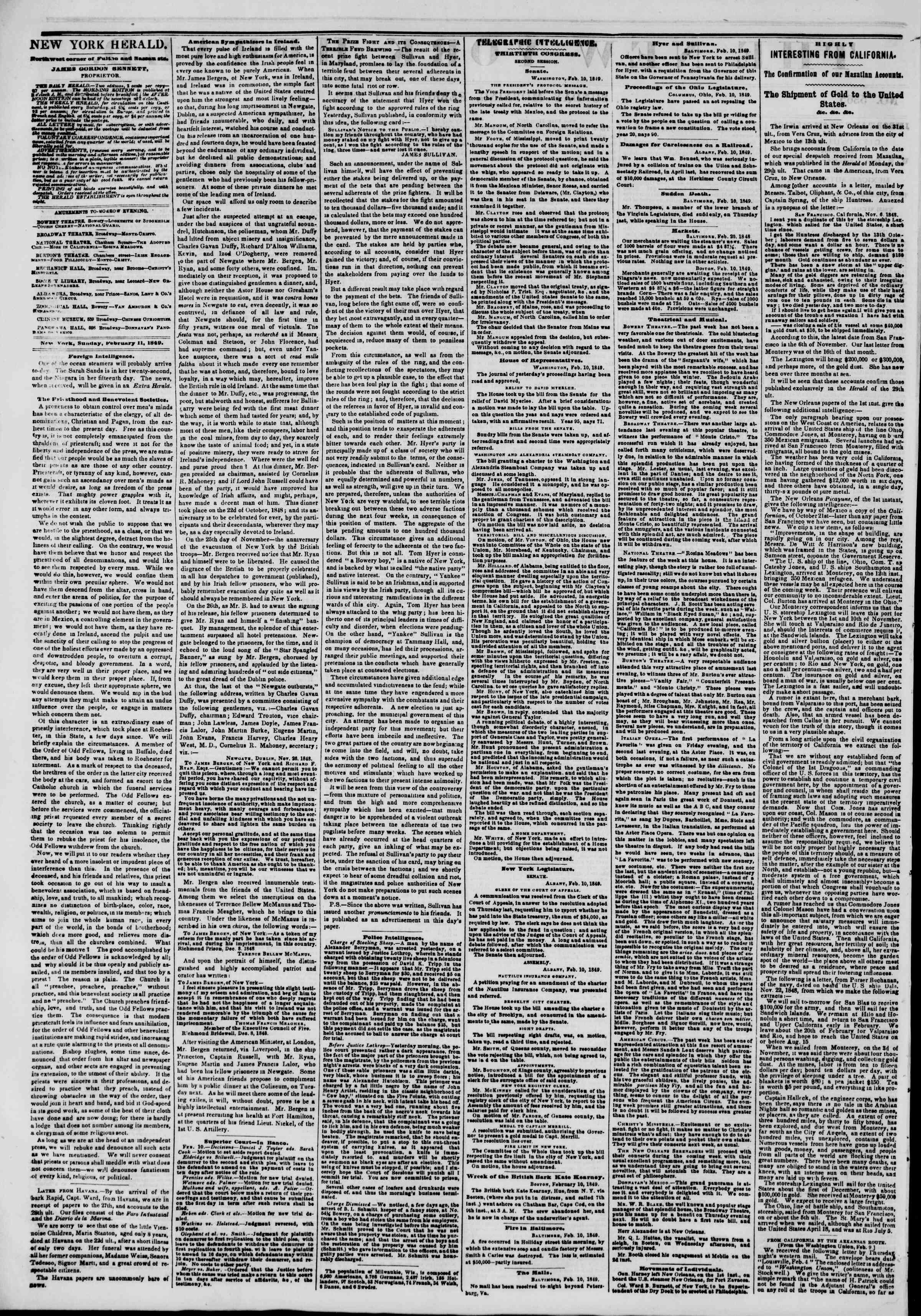 Newspaper of The New York Herald dated February 11, 1849 Page 2