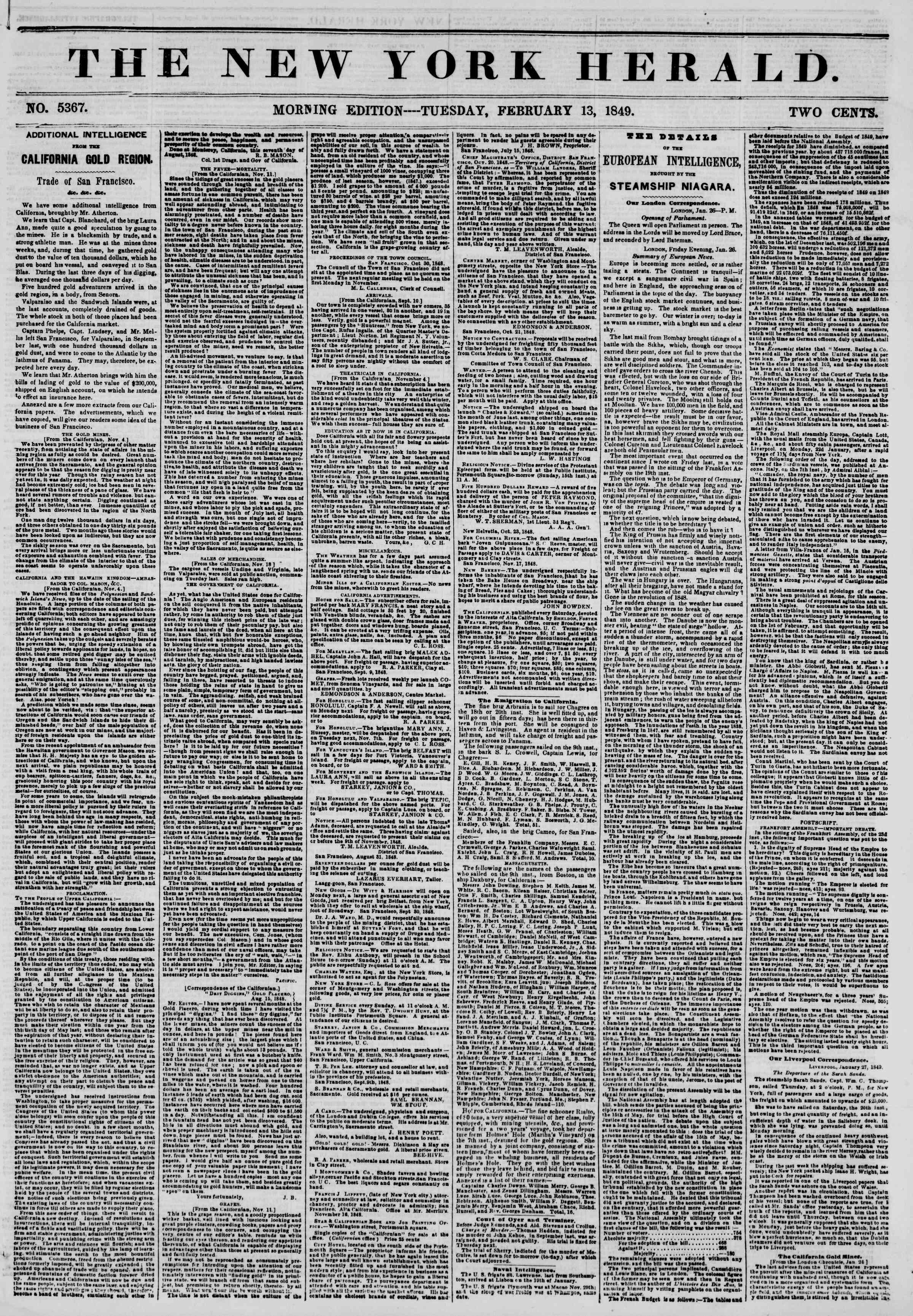 Newspaper of The New York Herald dated February 13, 1849 Page 1