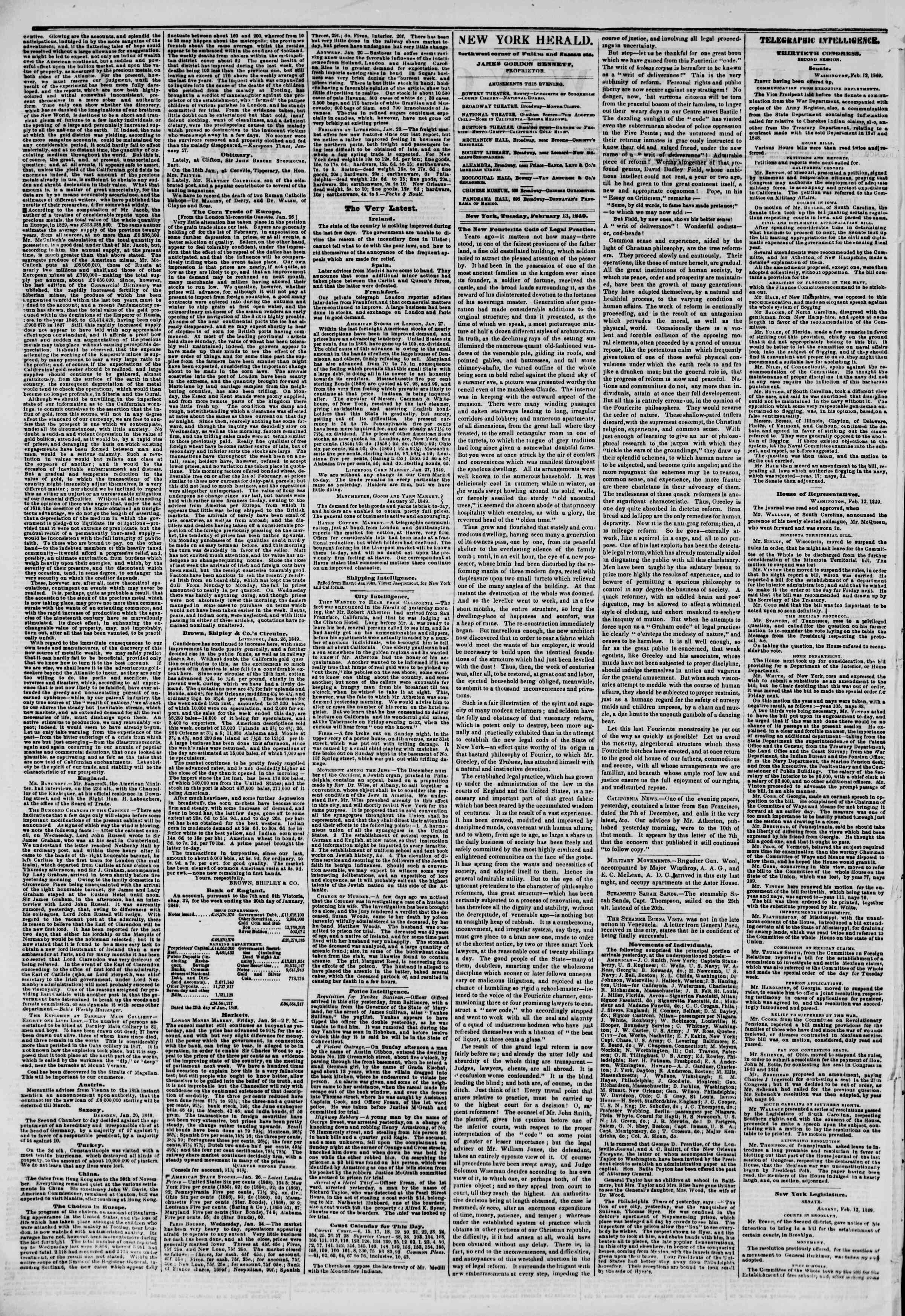 Newspaper of The New York Herald dated February 13, 1849 Page 2