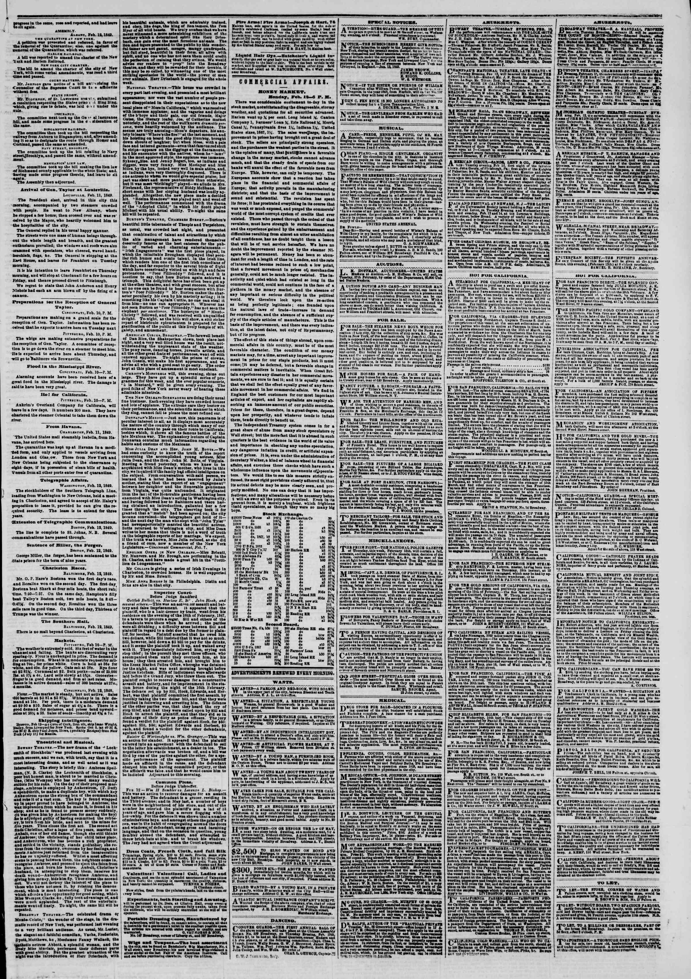 Newspaper of The New York Herald dated February 13, 1849 Page 3